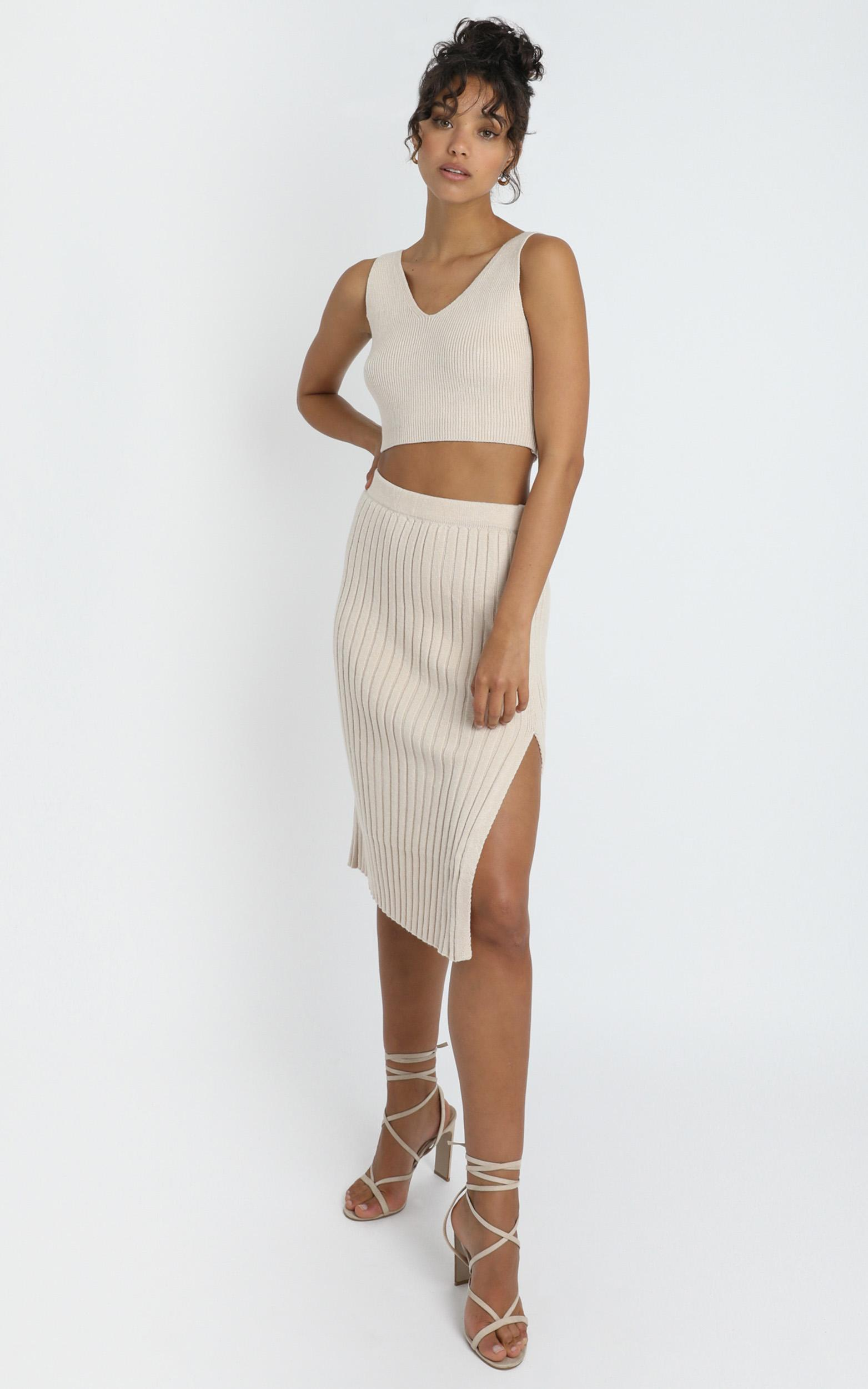 Yana Knit Skirt in Beige - 8 (S), Beige, hi-res image number null