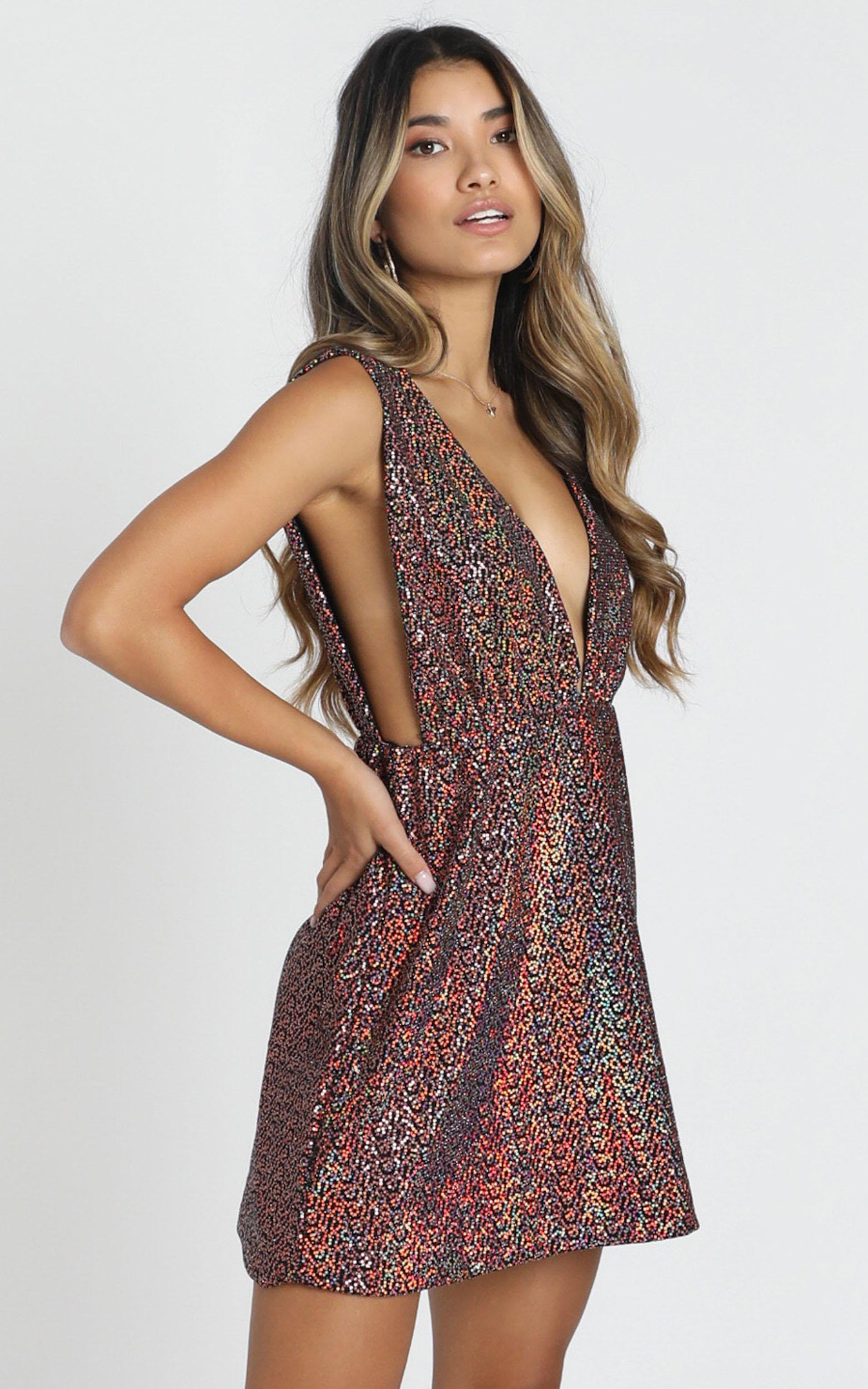Cardiff Dress in Metallic Multi - 8 (S), Pink, hi-res image number null