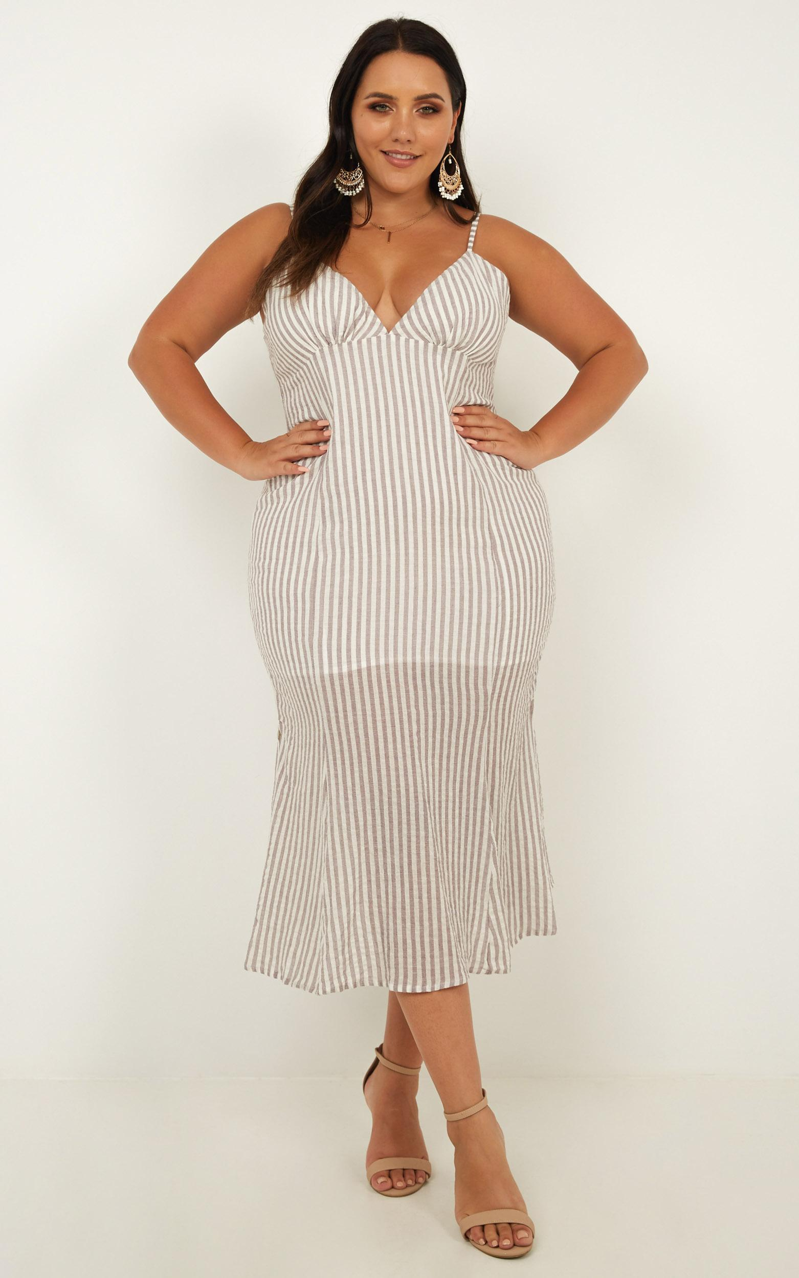 Sly Love Dress in brown stripe - 20 (XXXXL), Brown, hi-res image number null