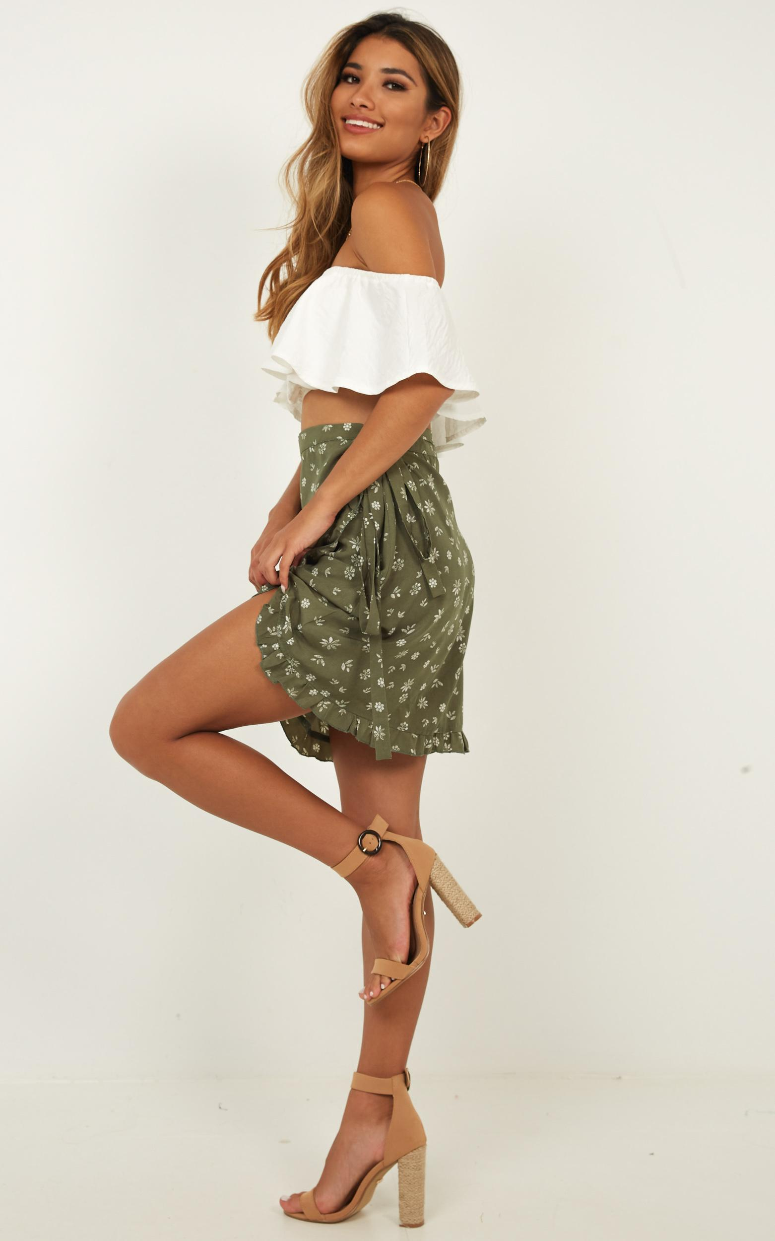 Started With A Kiss Skirt in khaki floral - 12 (L), Khaki, hi-res image number null
