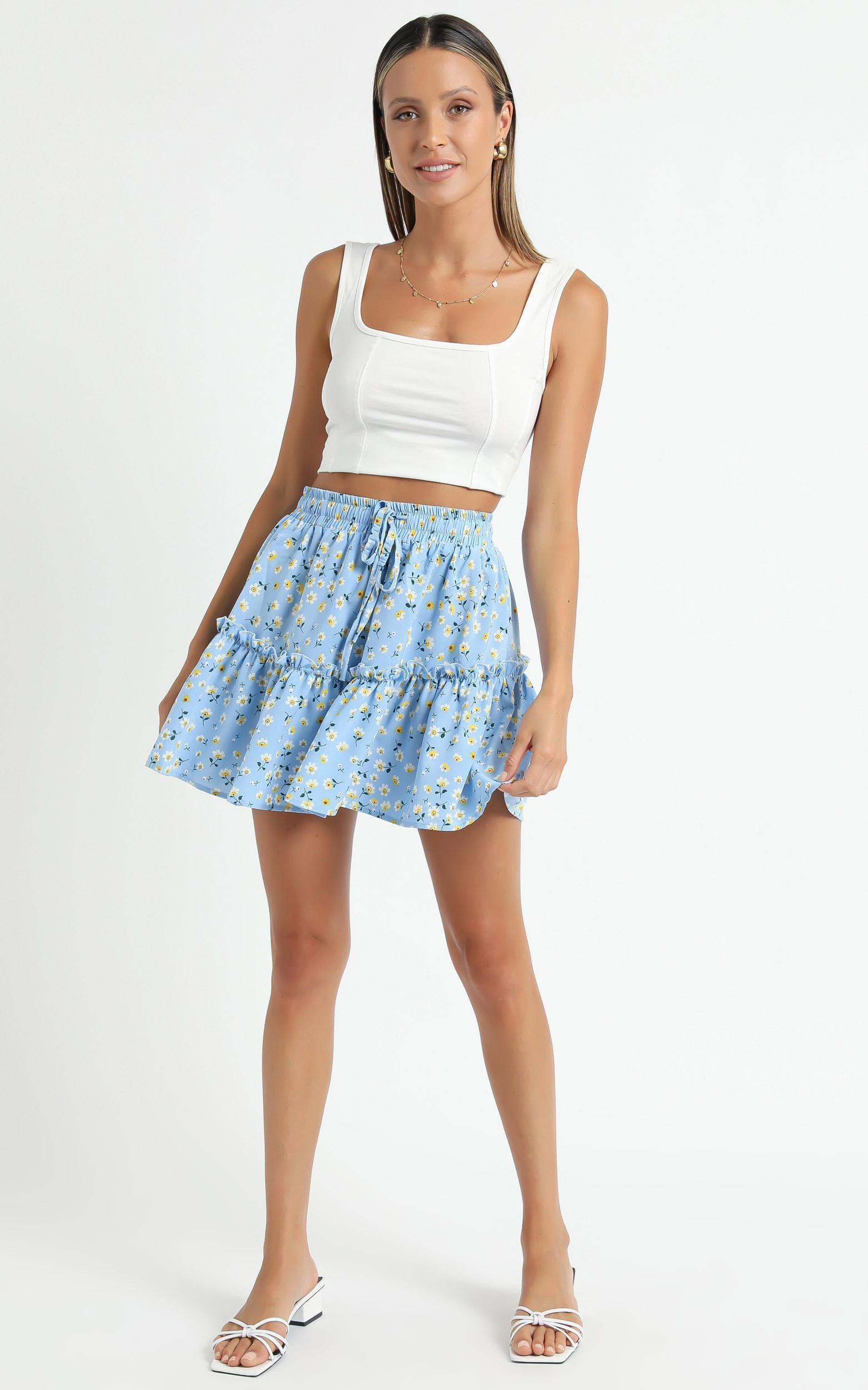 Tennessee Skirt in Blue Floral - 6 (XS), Blue, hi-res image number null