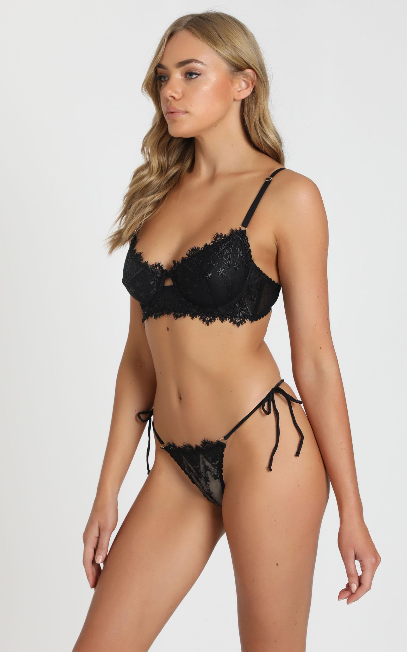 Kat The Label - Dahlia Lace Underwire Bra in Black - XS, BLK1, hi-res image number null