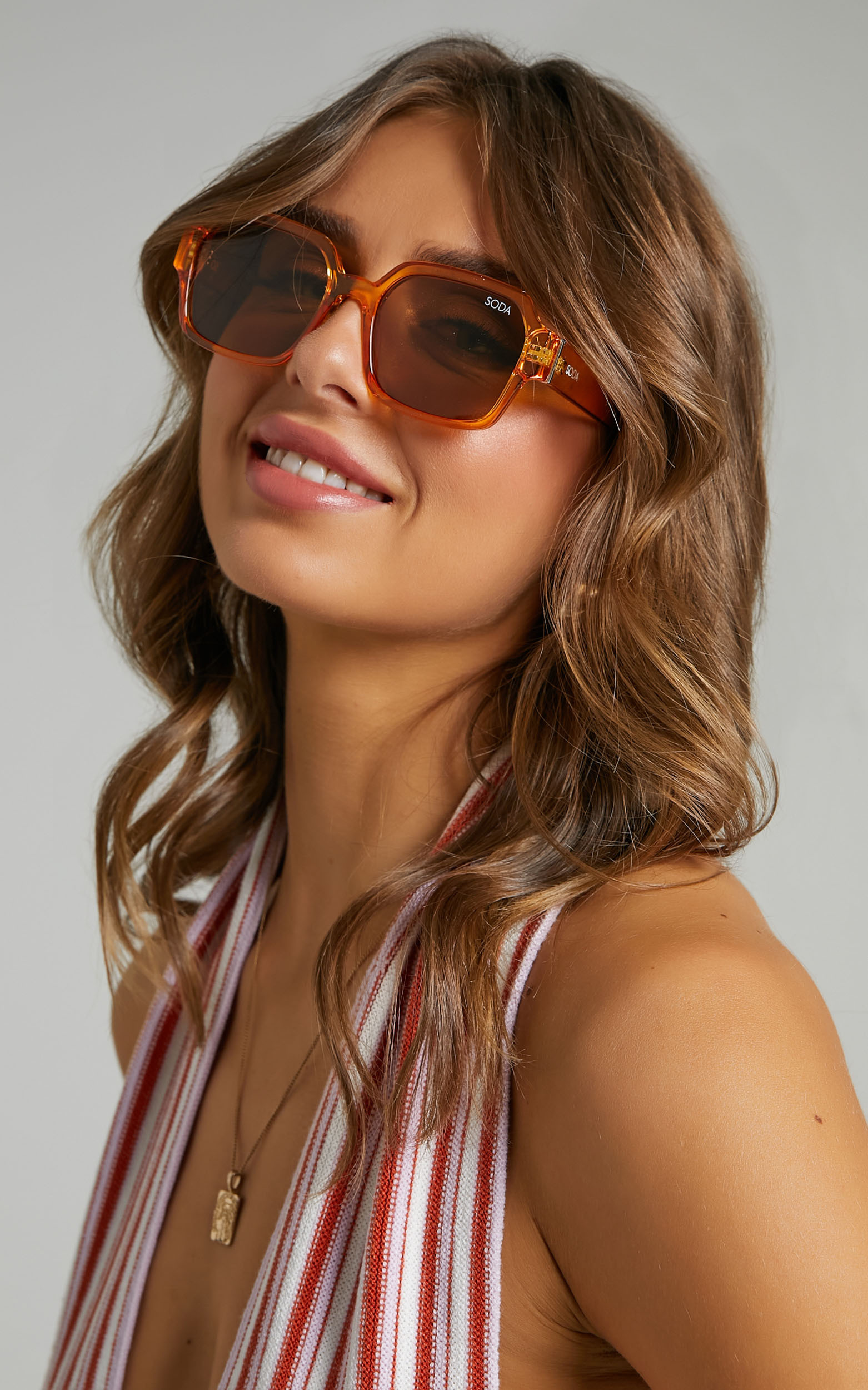 Soda Shades - Leyla Sunglasses in Amber - NoSize, ORG2, hi-res image number null