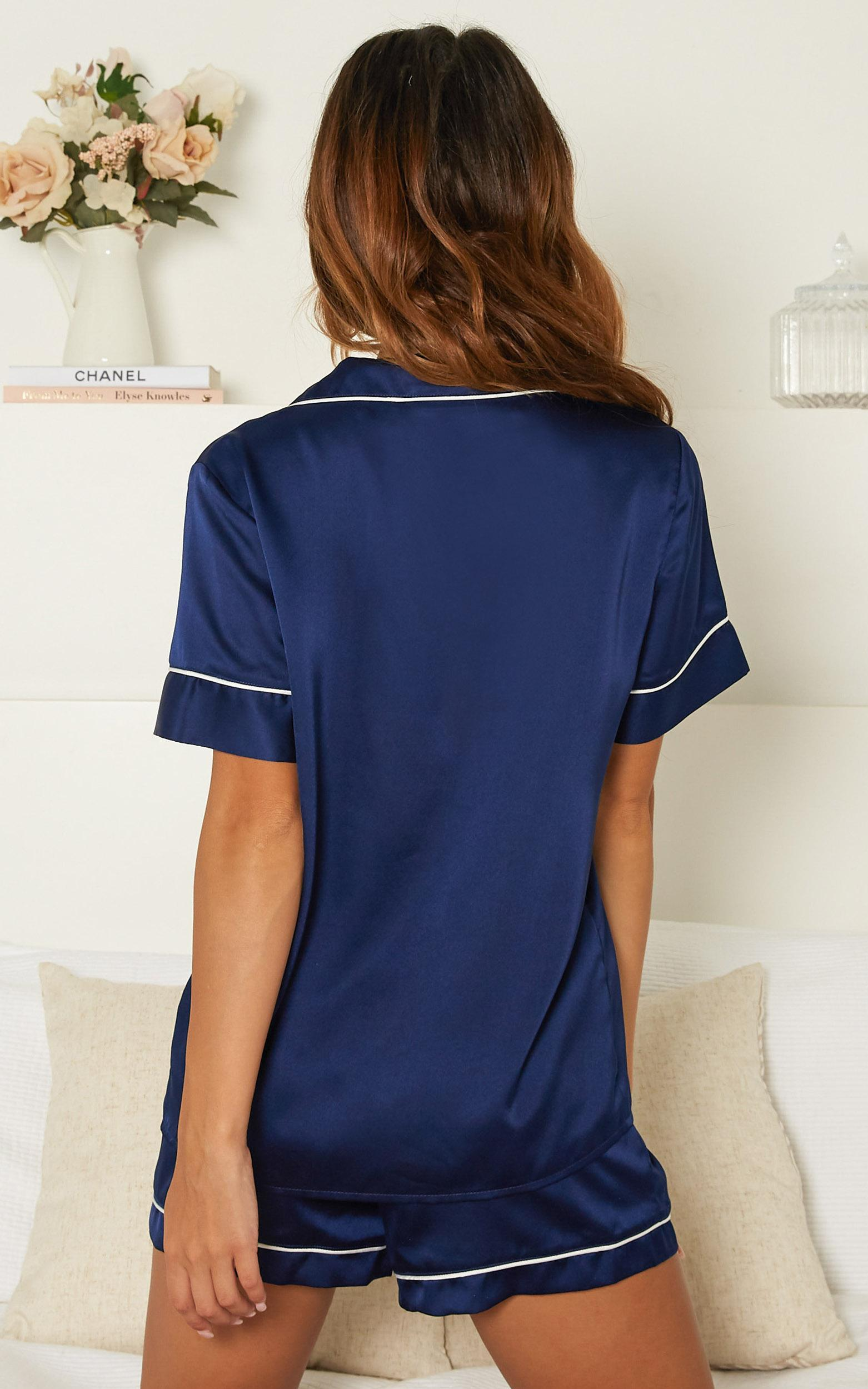 Sleep All Day Shorts in navy satin - 20 (XXXXL), Navy, hi-res image number null