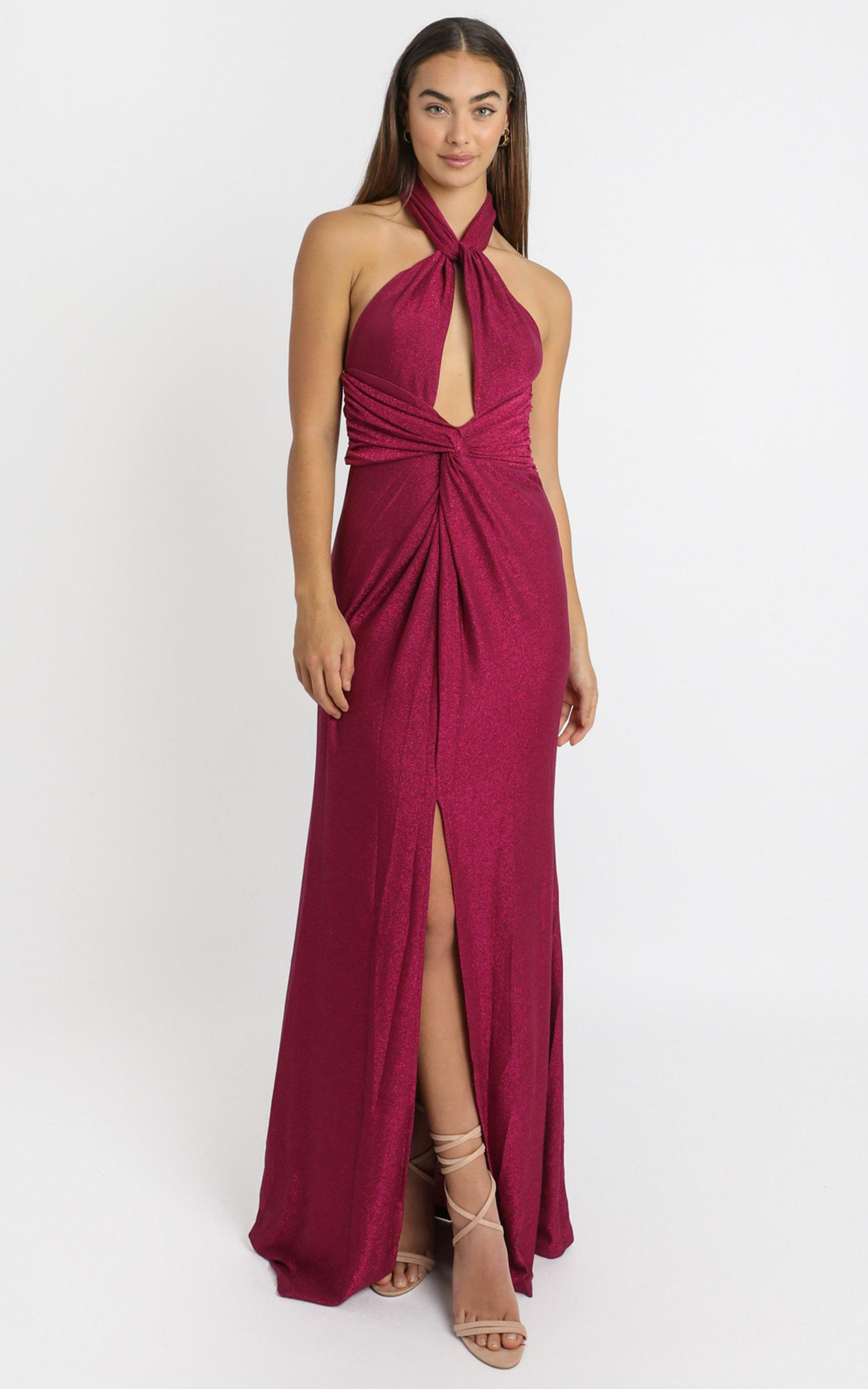 Ensley Twist Front Maxi Dress in pink glitter - 6 (XS), Pink, hi-res image number null