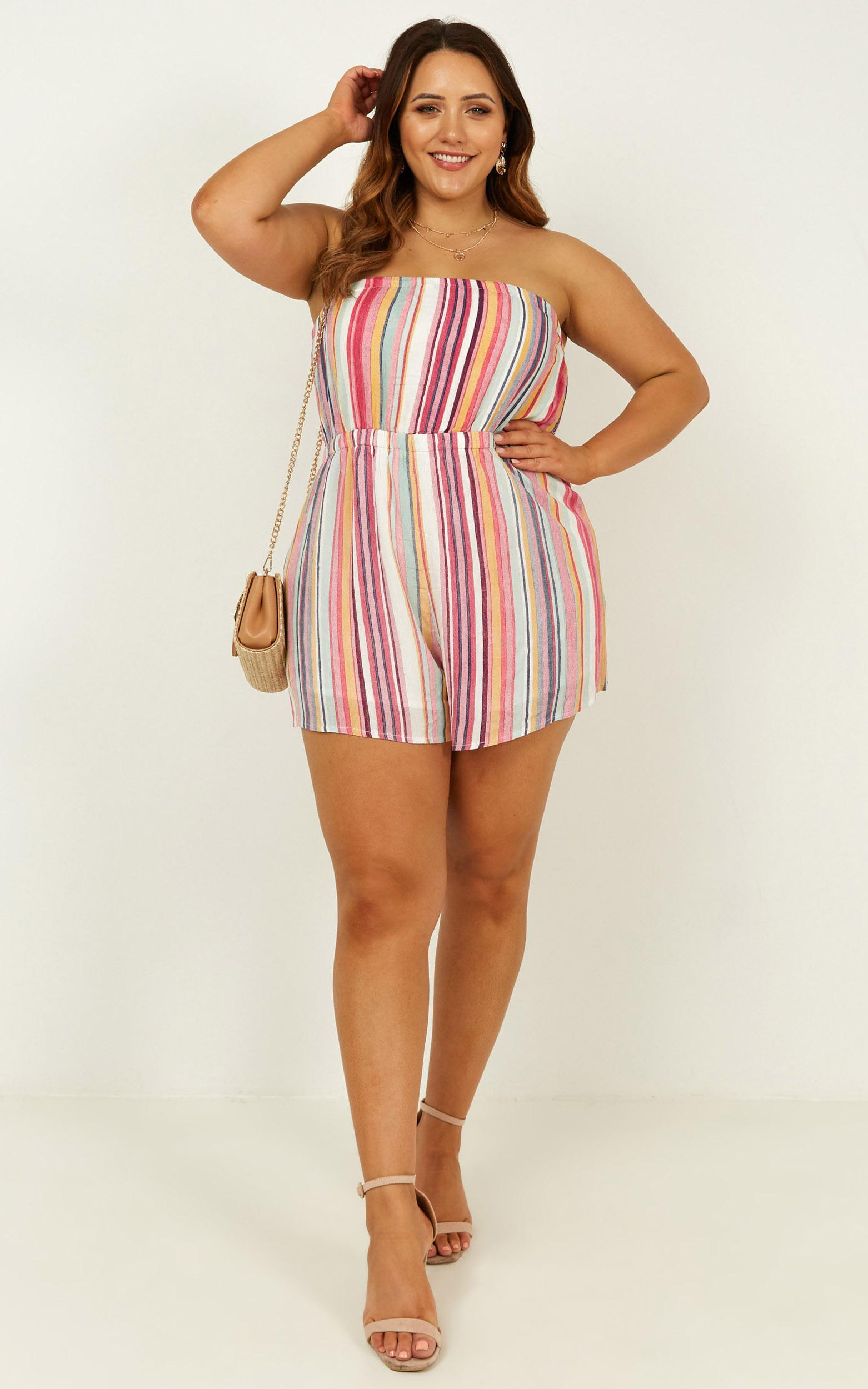 Fun For All Playsuit in rainbow stripe - 20 (XXXXL), Purple, hi-res image number null