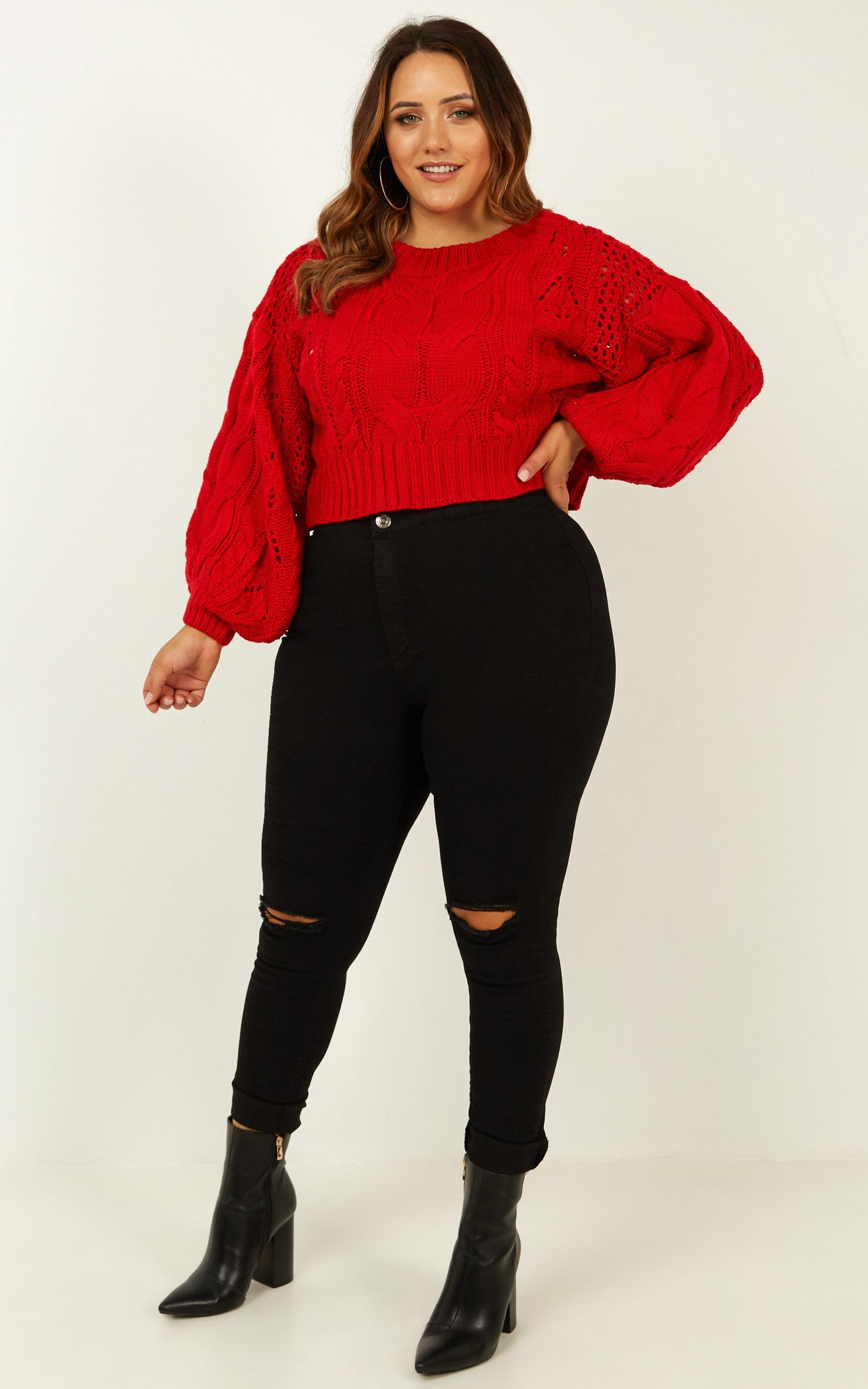 Vibrant Vibes Knit Jumper in red - 6 (XS), Red, hi-res image number null