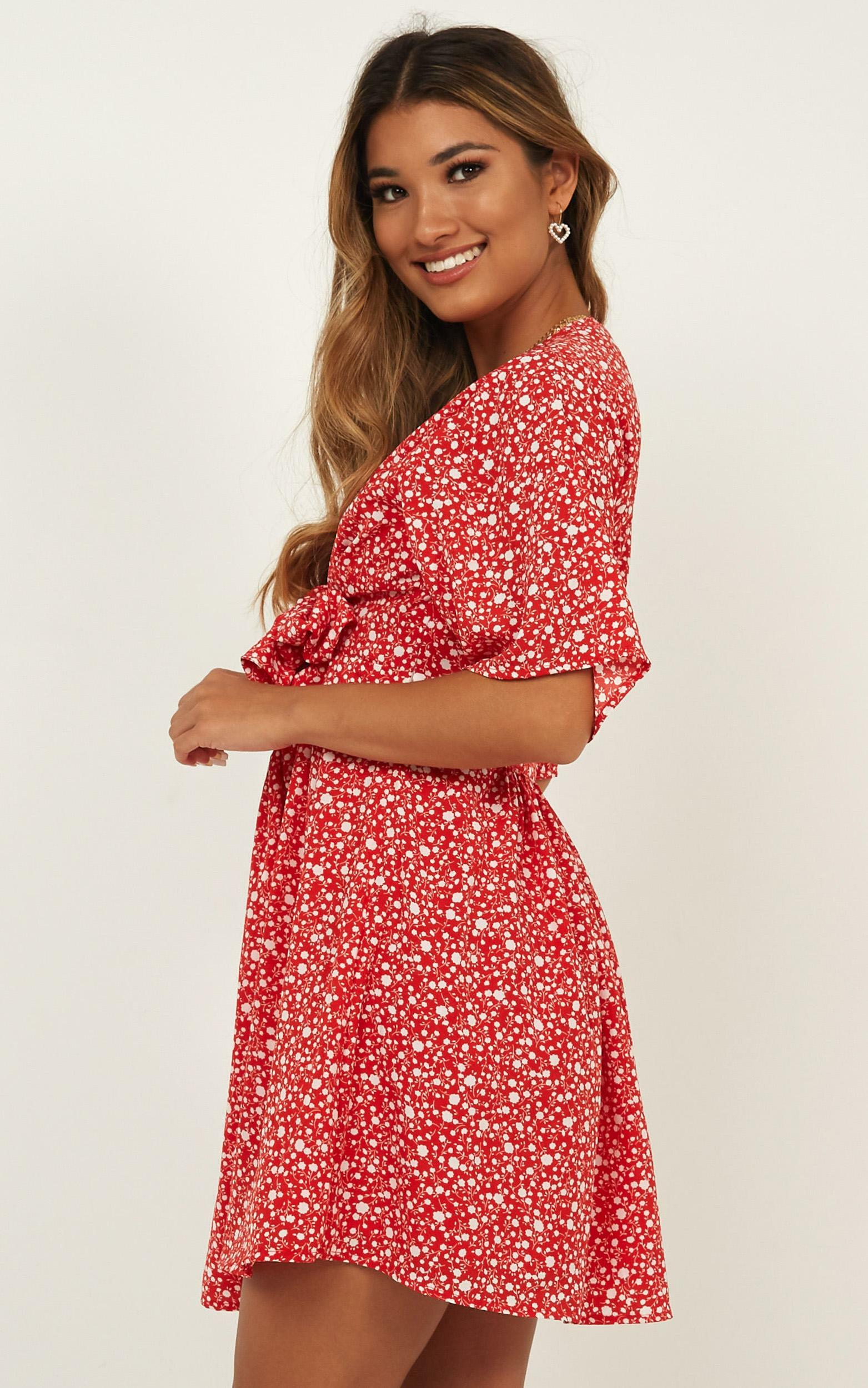Dreaming About You Dress In Red Floral - 4 (XXS), Red, hi-res image number null