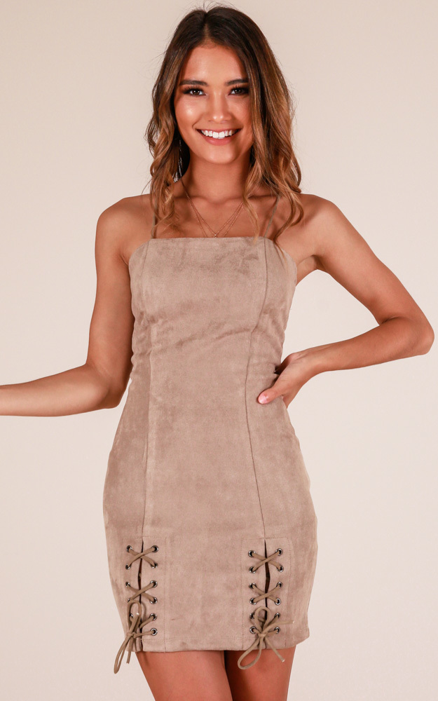 Underrated dress in taupe suedette - 12 (L), Taupe, hi-res image number null