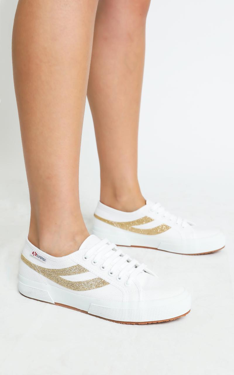 Superga - 2750 Swallowtail Micro Glitter Sneaker in white - yellow gold - 5, WHT6, hi-res image number null