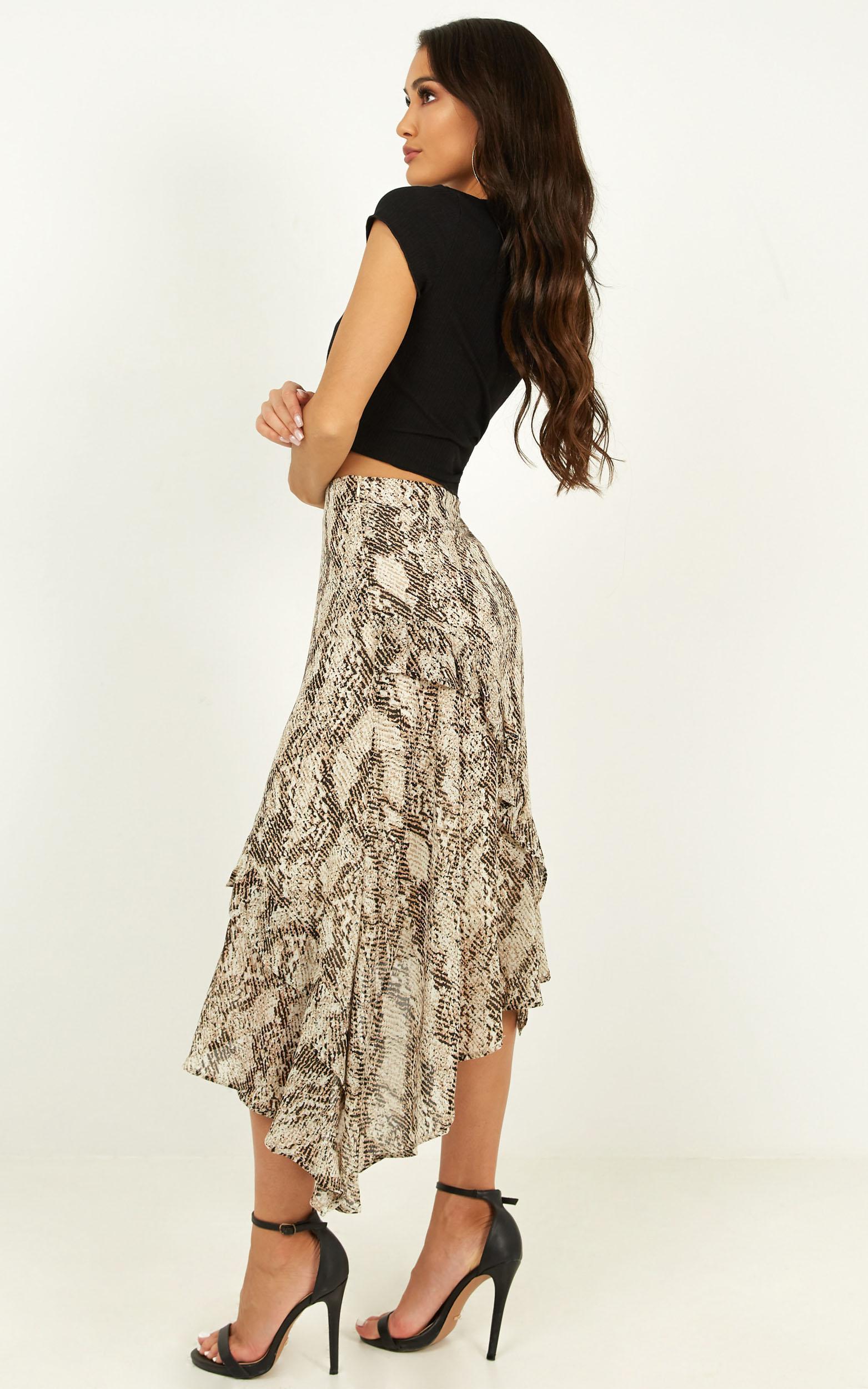 Lighter Than Air skirt in snake print - 10 (M), Grey, hi-res image number null