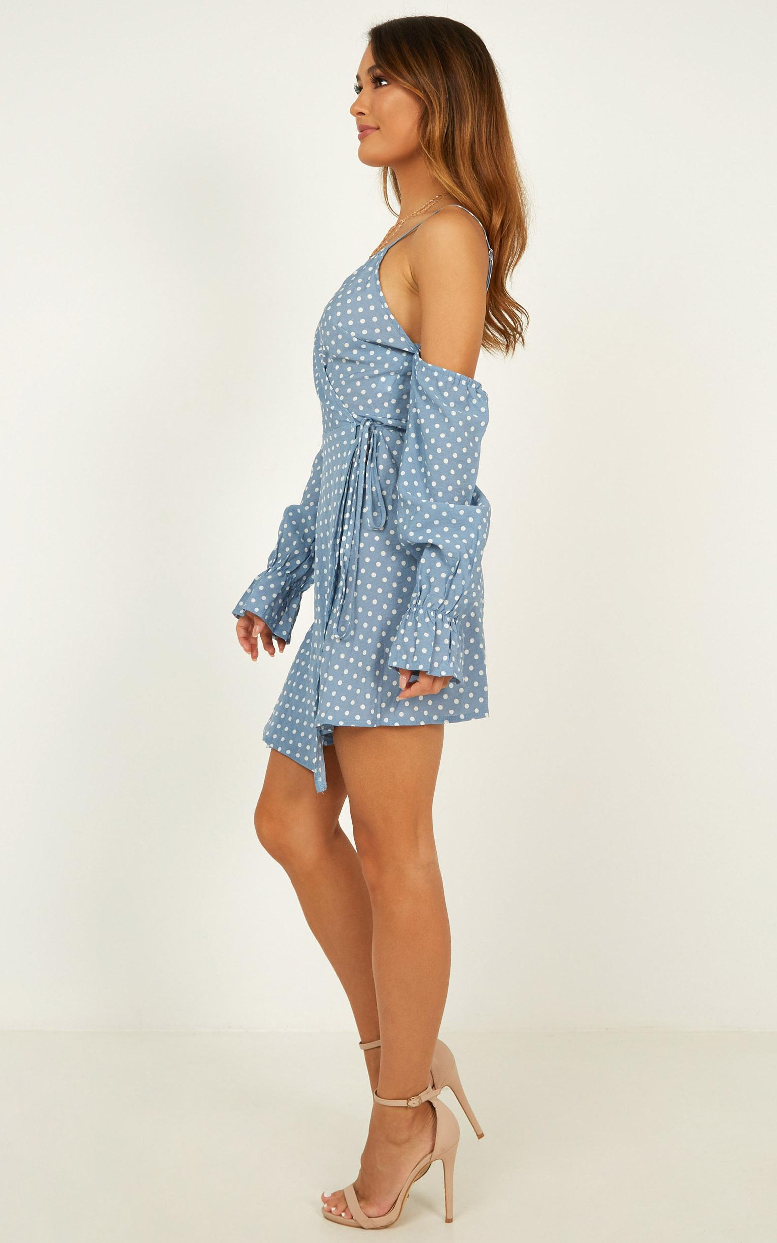 Be Your Lover Dress In blue spot - 20 (XXXXL), Blue, hi-res image number null