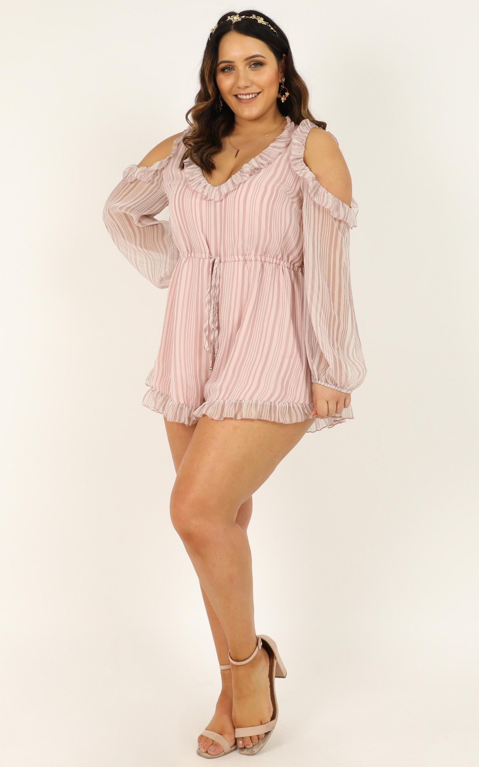 Rhythm And Love Playsuit in blush chiffon stripe - 20 (XXXXL), Blush, hi-res image number null
