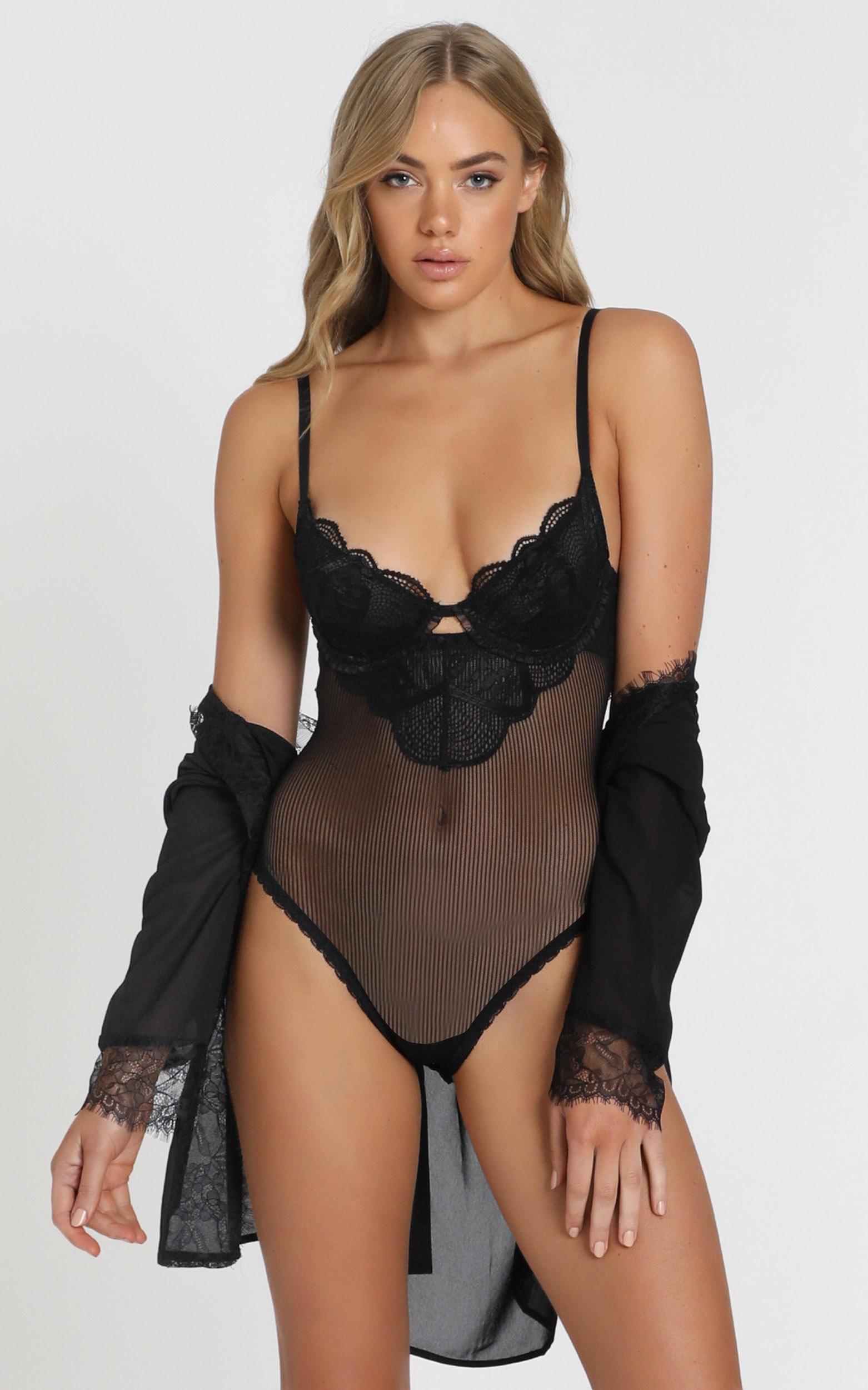 Kat The Label Zephyr Lace Bodysuit  - XS, Black, hi-res image number null