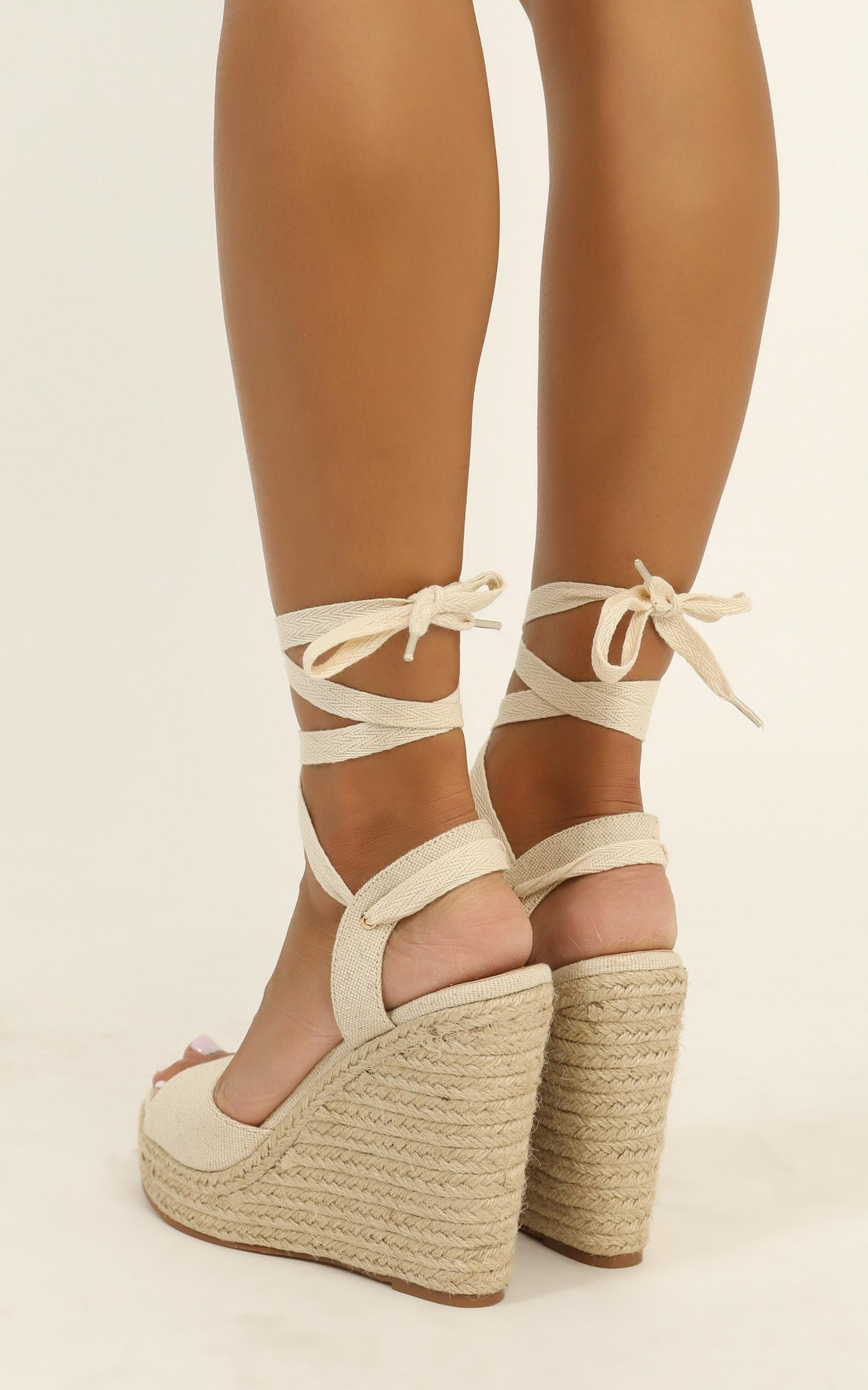 Billini - Elina wedges in oatmeal linen - 10, White, hi-res image number null