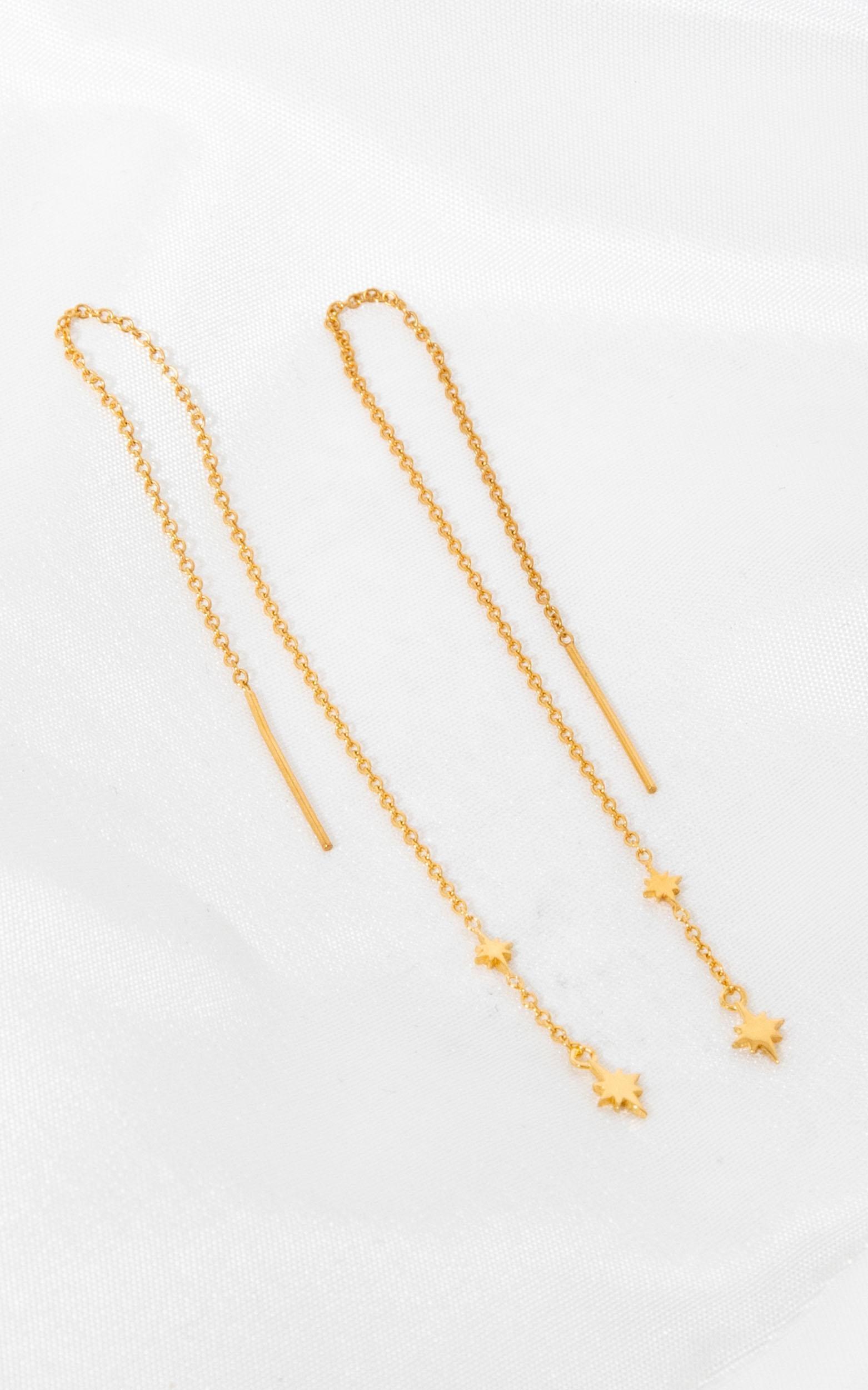 Midsummer Star - Celestial Threader Earrings In Gold, Gold, hi-res image number null