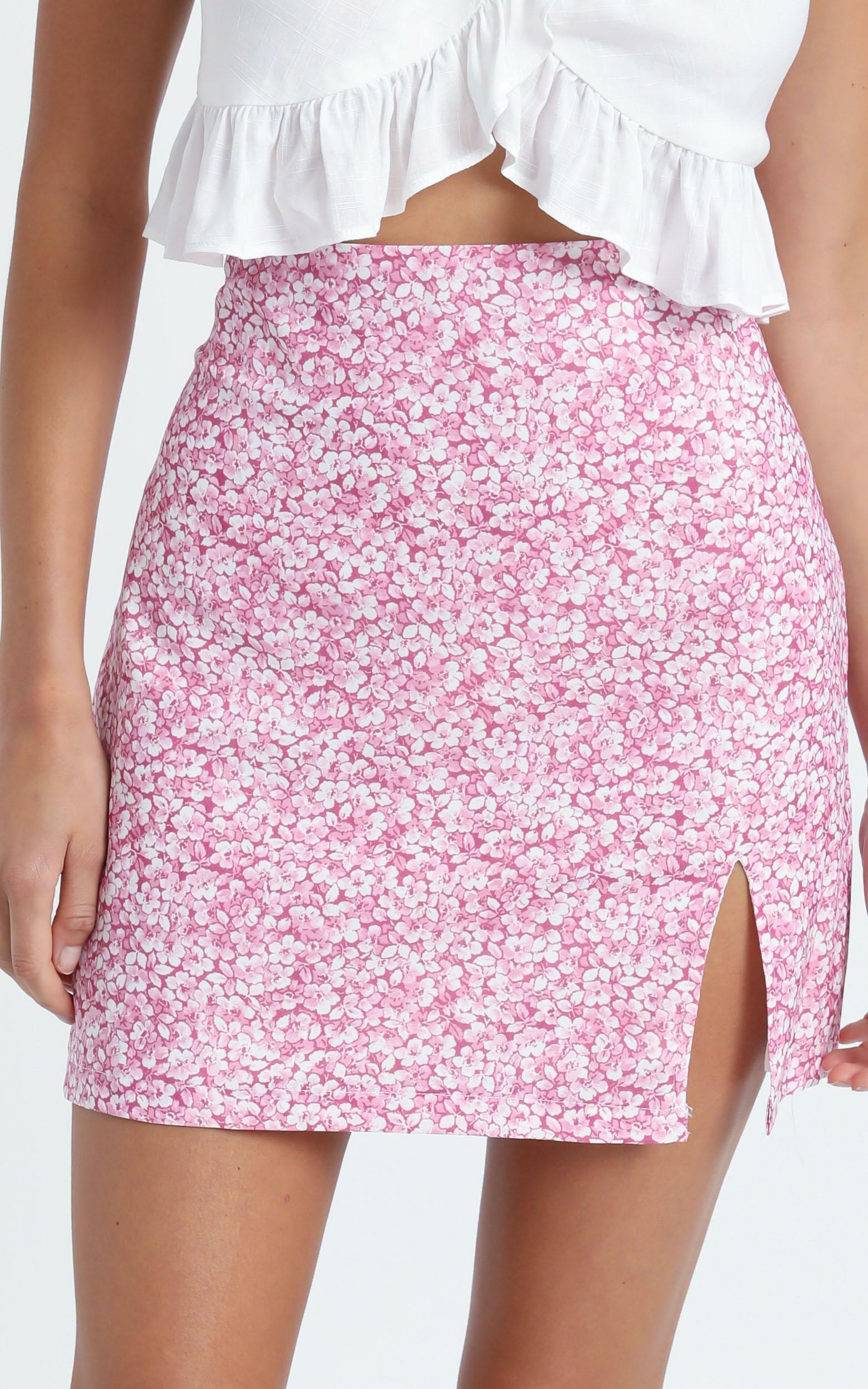 Sazan Skirt in Pink Floral - 6 (XS), Pink, hi-res image number null
