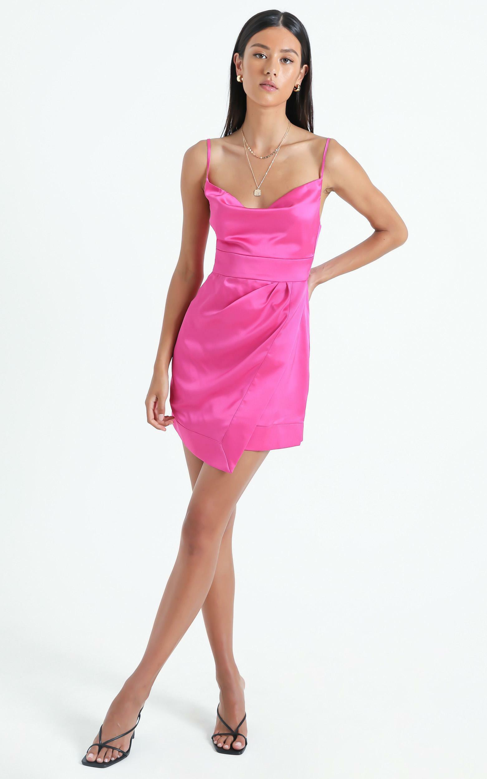 Naesa Dress in Pink Satin - 6 (XS), Pink, hi-res image number null