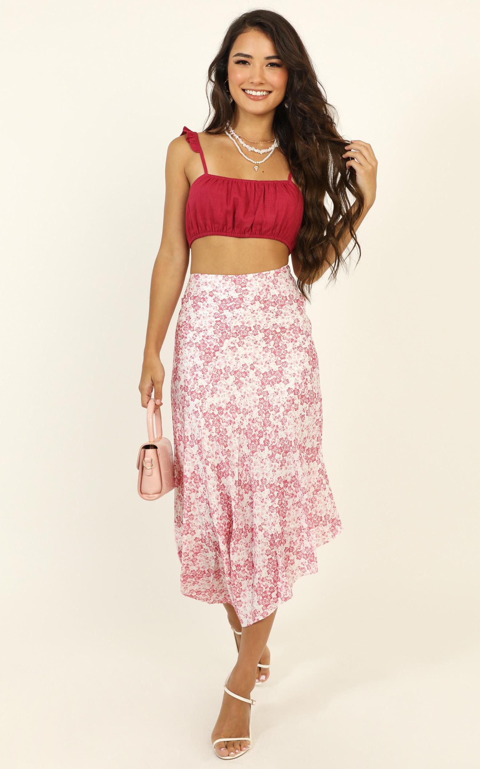 Minor Details skirt in pink floral satin - 14 (XL), Pink, hi-res image number null