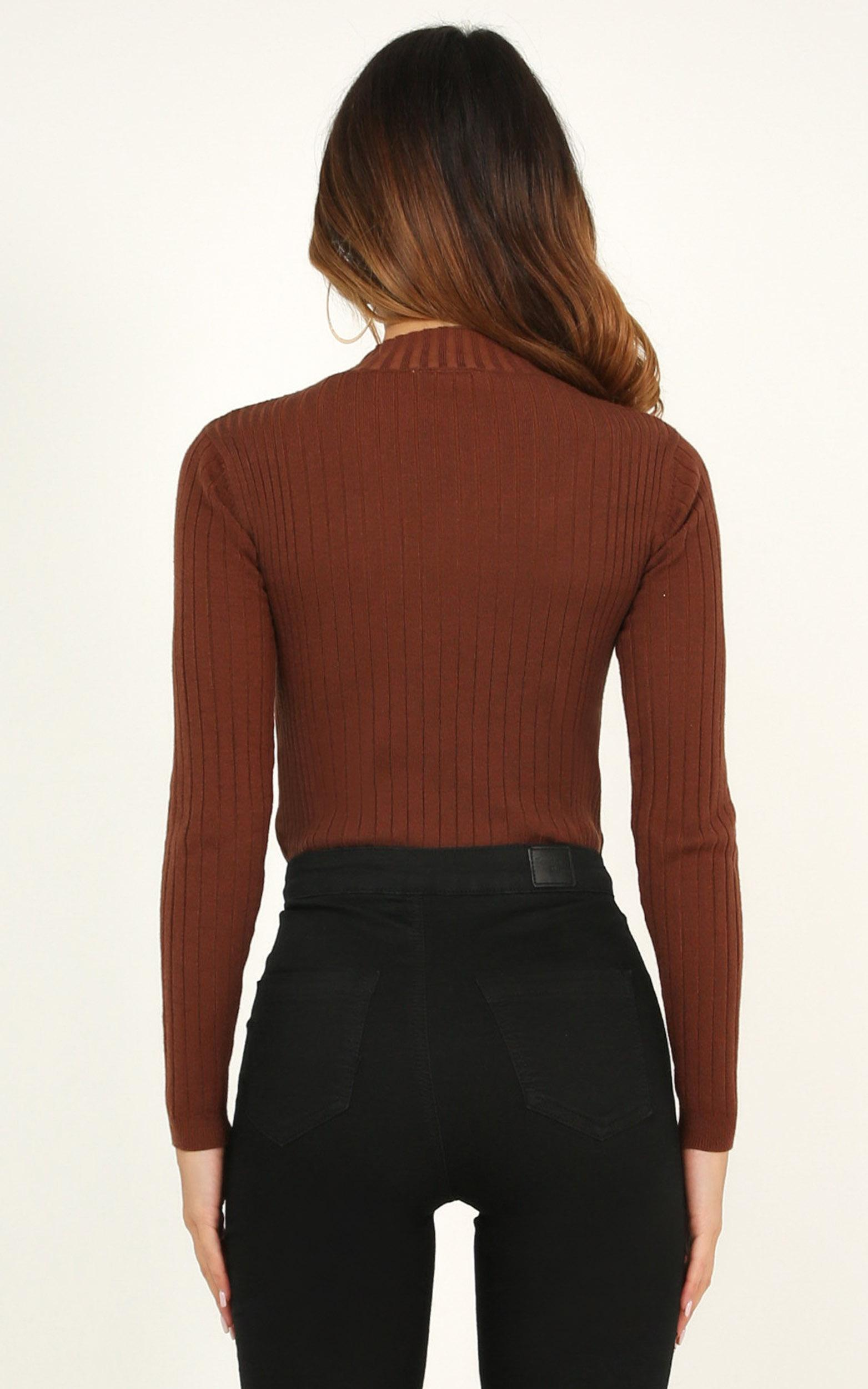 downtown dreams knit top in chocolate - 10 (M), Brown, hi-res image number null