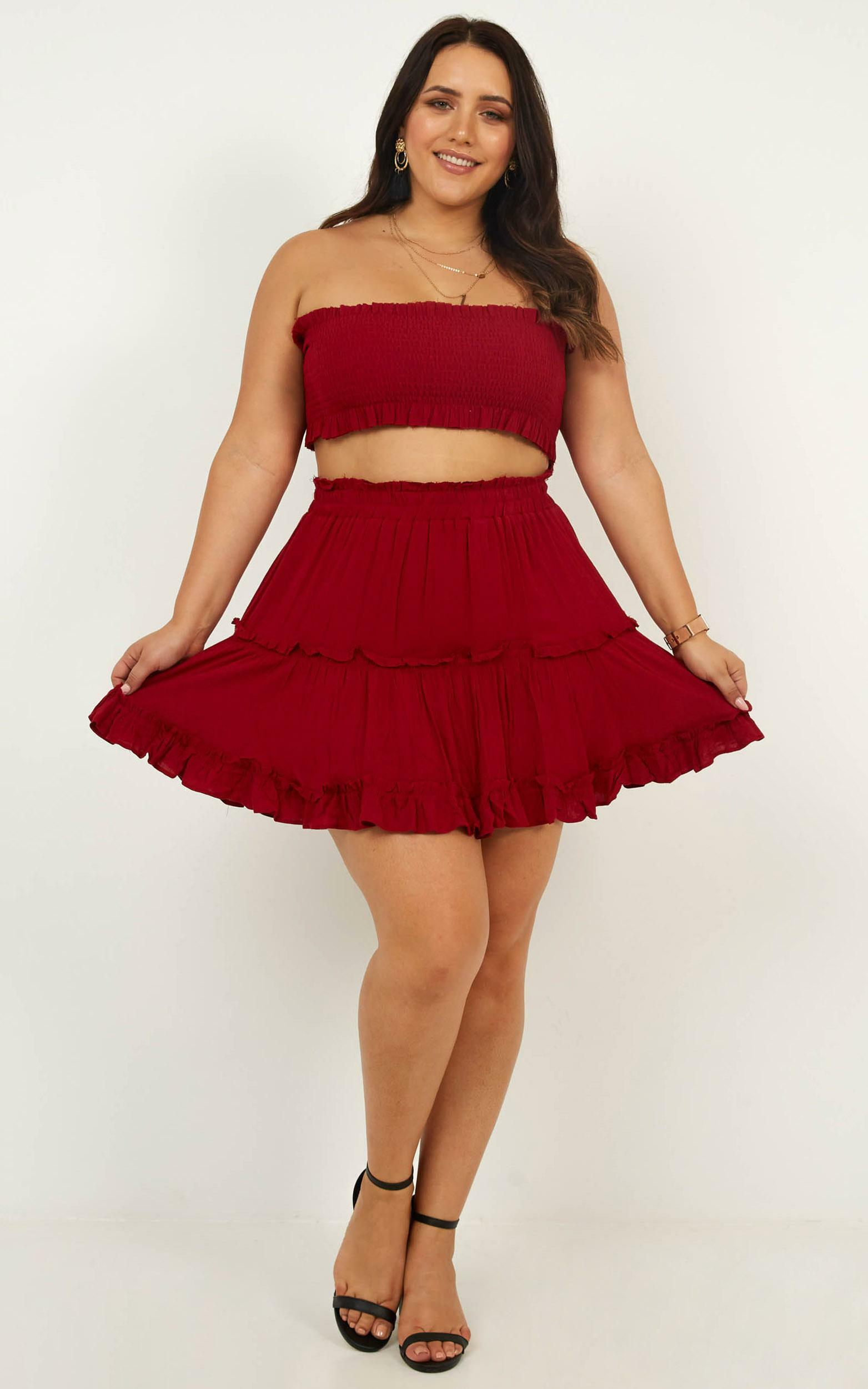 Outside The Line Two Piece Set in chilli linen look - 16 (XXL), Red, hi-res image number null