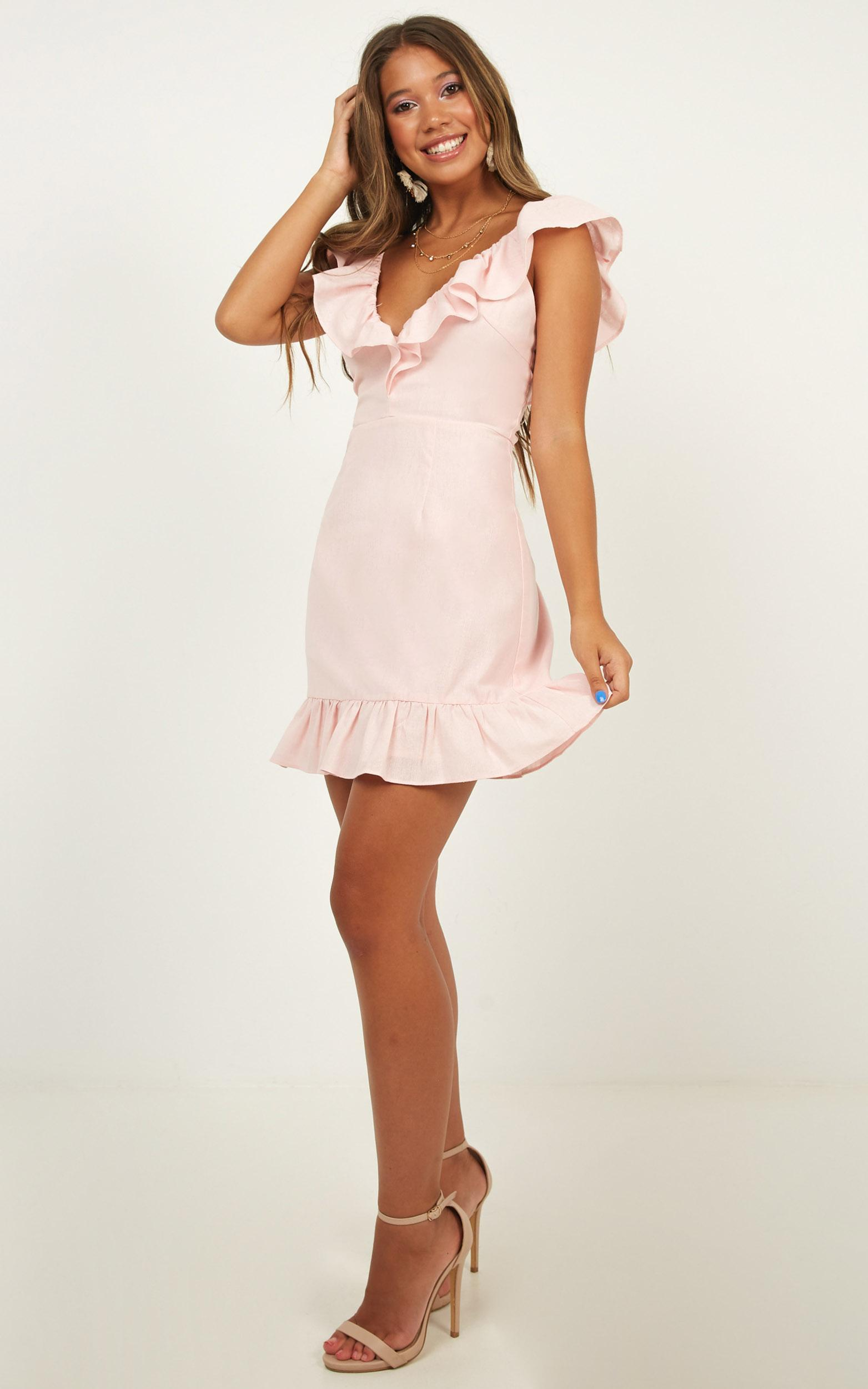 Friday Fun Dress in pink linen look - 12 (L), Pink, hi-res image number null