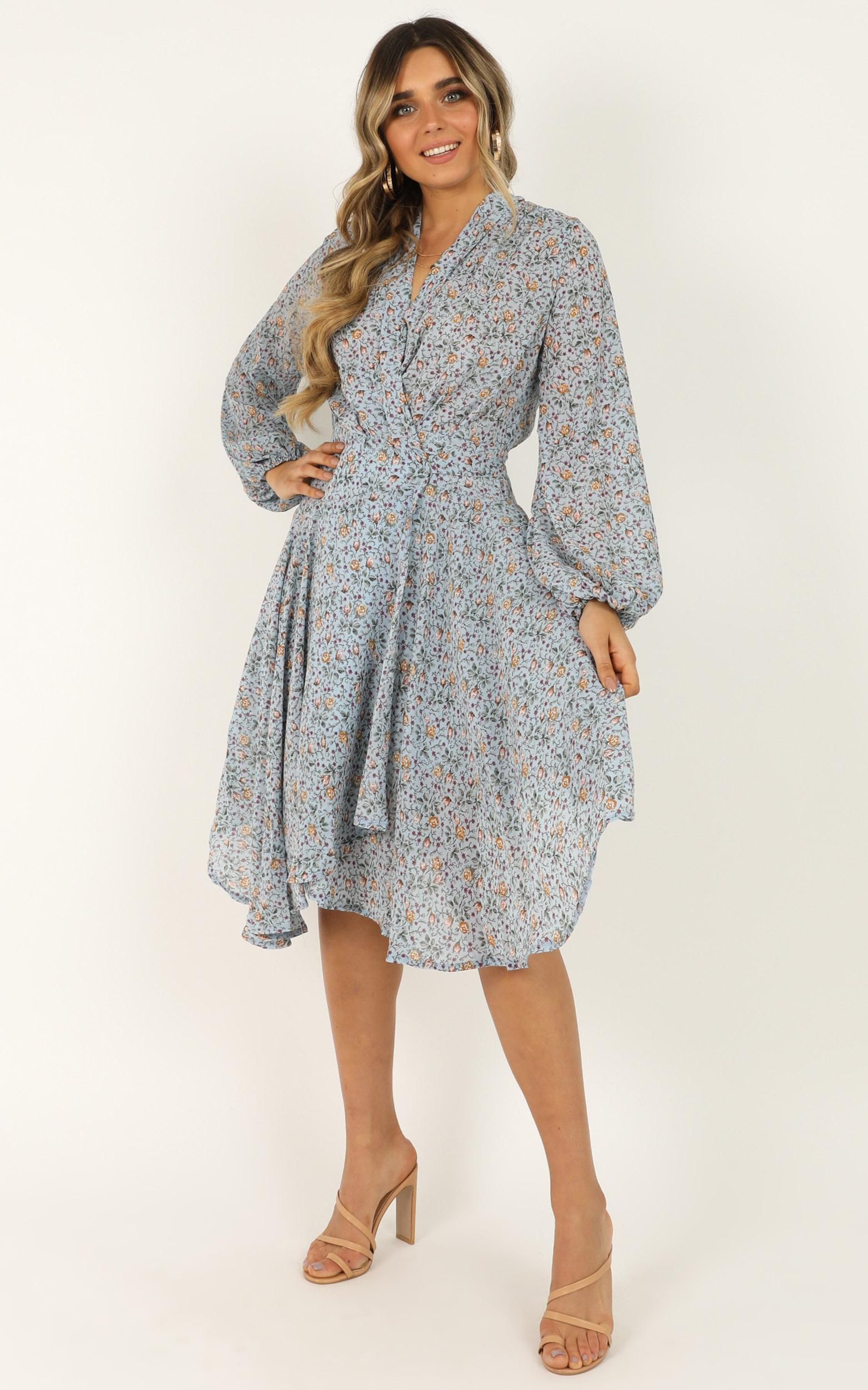 The Best Time dress in blue floral - 14 (XL), Blue, hi-res image number null