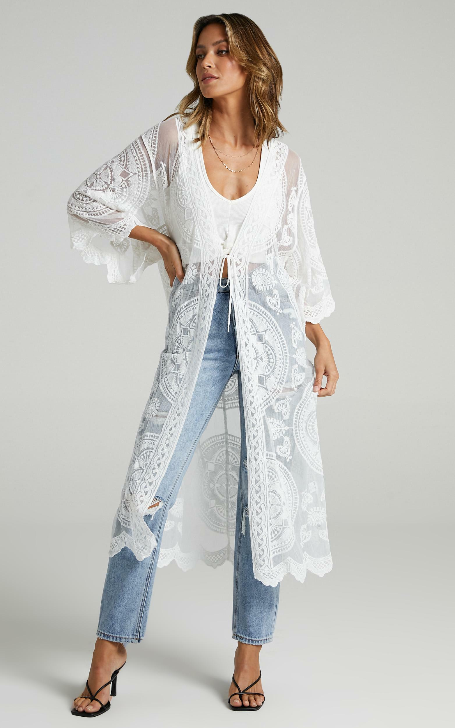 Off The Grid Bell Sleeve Kimono in White - M/L, WHT2, hi-res image number null