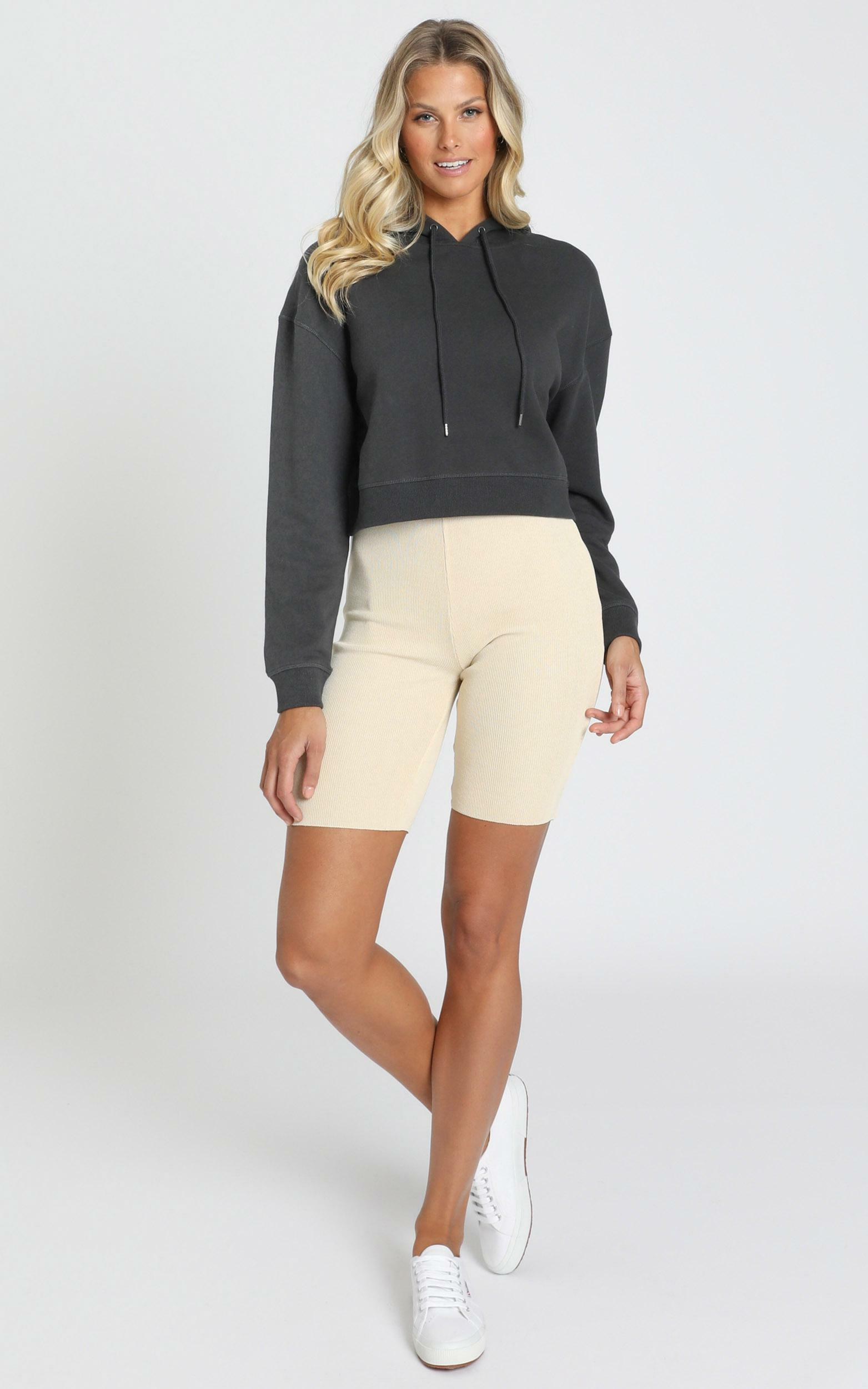 AS Colour - Crop Hood in Coal - XS, Charcoal, hi-res image number null