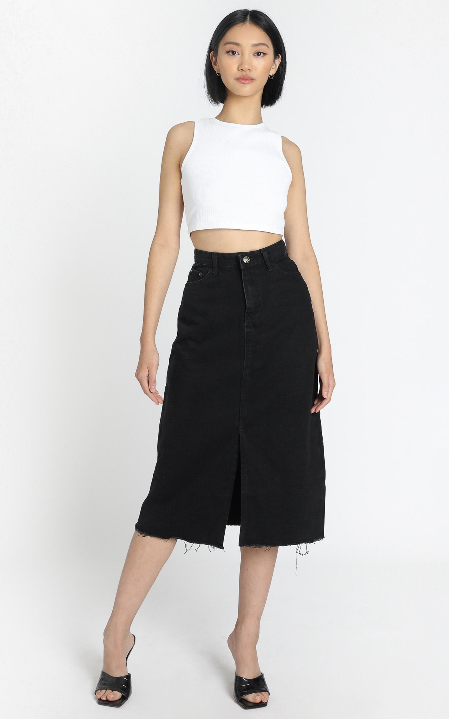 Lioness - Cant Be Tamed Midi Skirt in Black - 6 (XS), Black, hi-res image number null