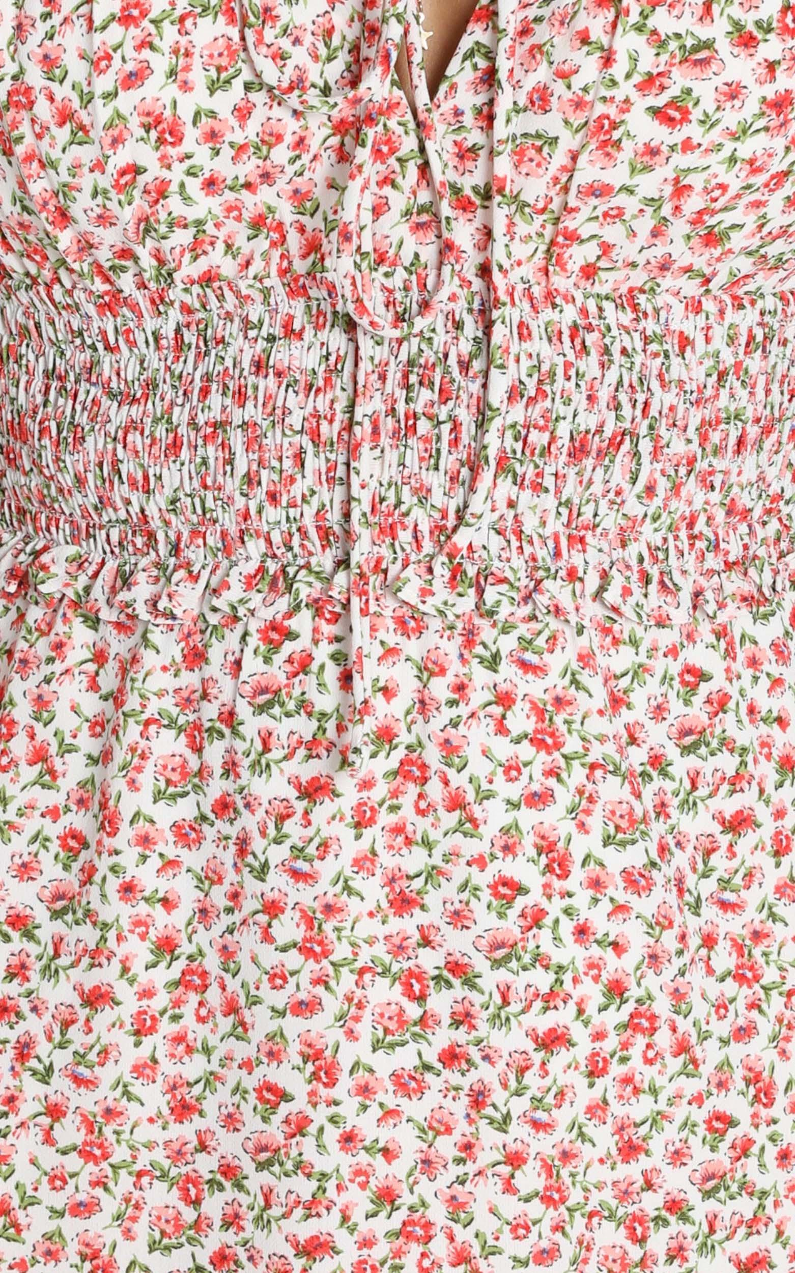 Nikkie Shirred Waist Mini Dress in red floral - 6 (XS), Red, hi-res image number null