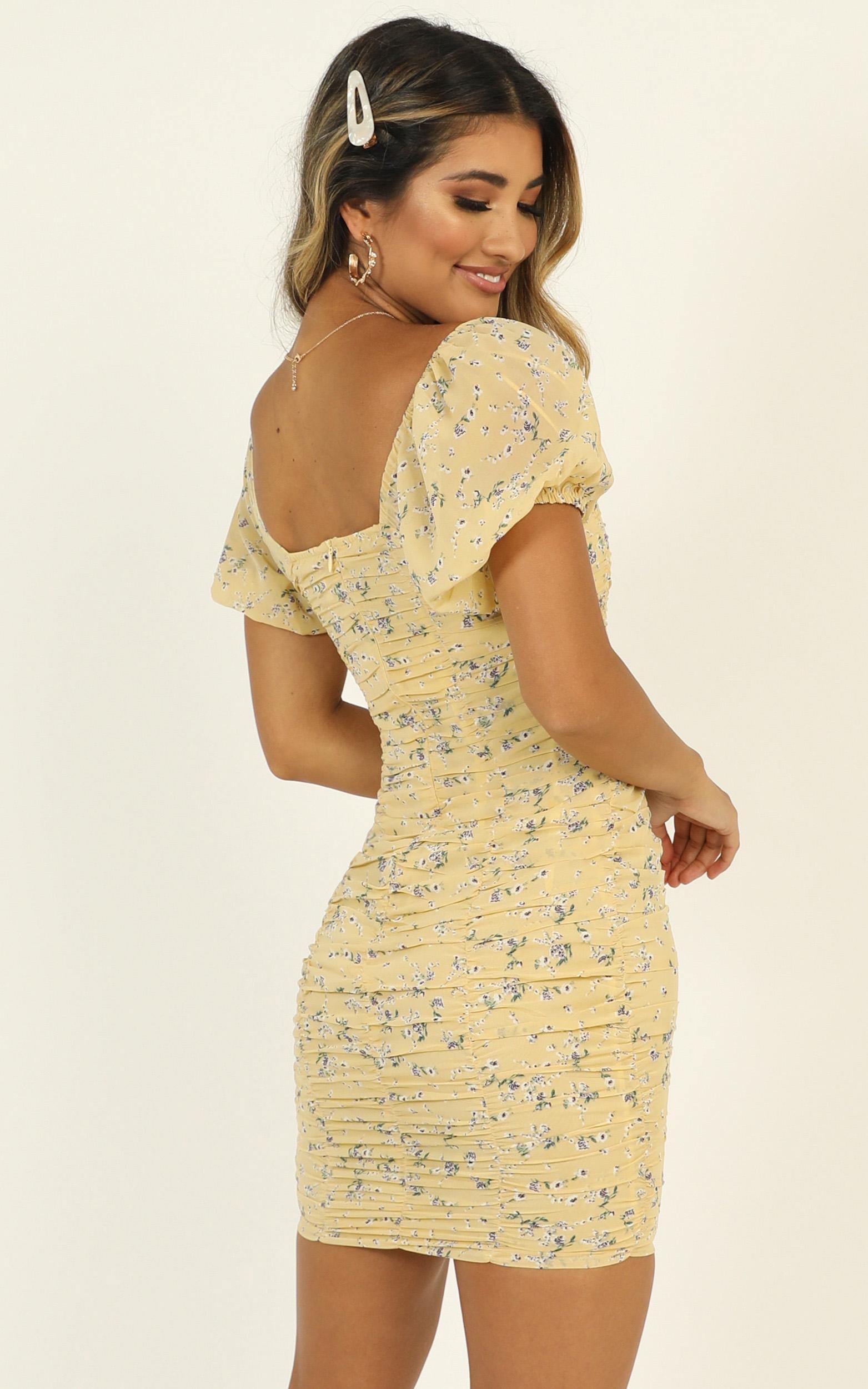 Citrus Memories dress in lemon floral - 16 (XXL), Yellow, hi-res image number null