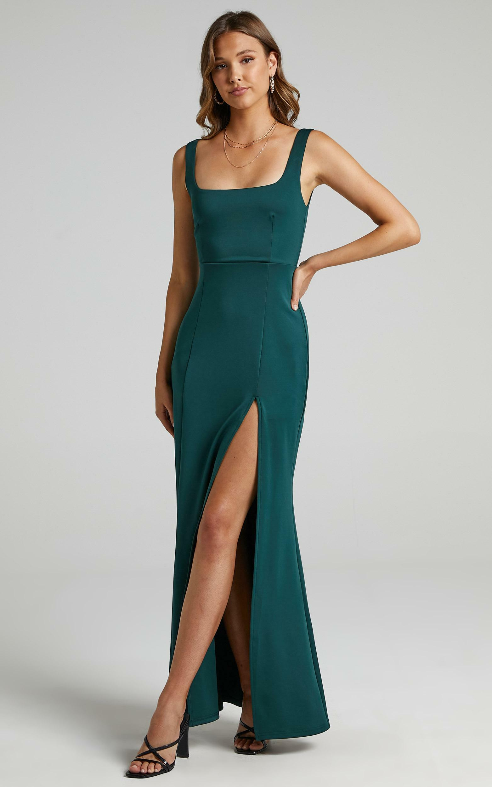 Raquelle Square Neck Thigh Split Maxi Dress in Emerald - 06, GRN3, hi-res image number null