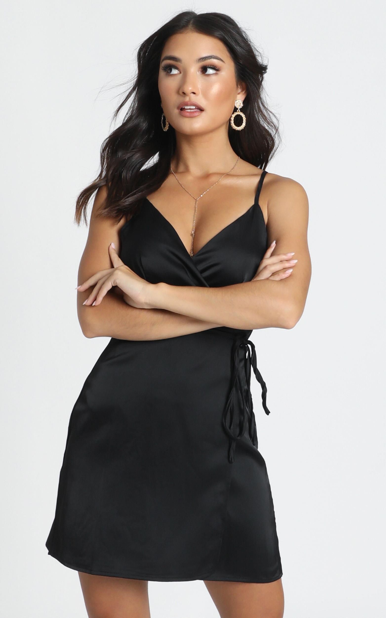 Mine Now Dress in black satin - 14 (XL), Black, hi-res image number null