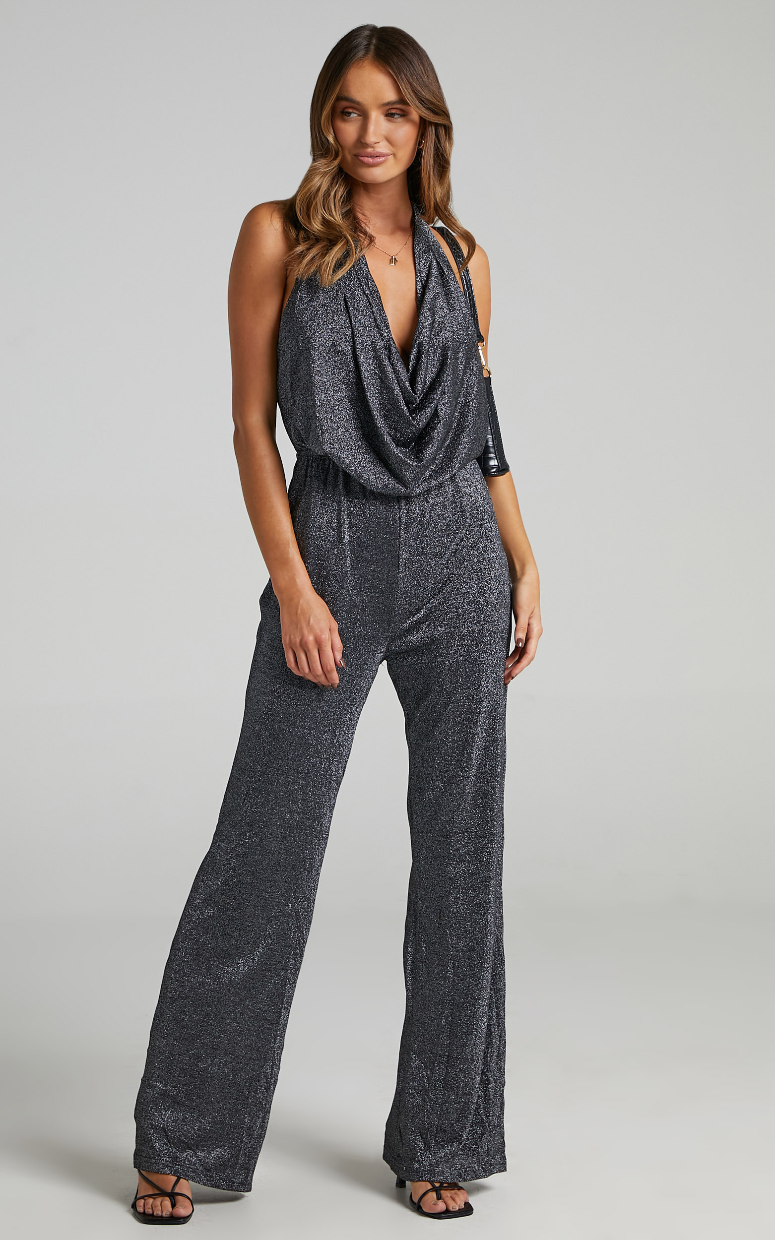 Amaliee Cowl Front Jumpsuit in Black - 16, BLK1, hi-res image number null