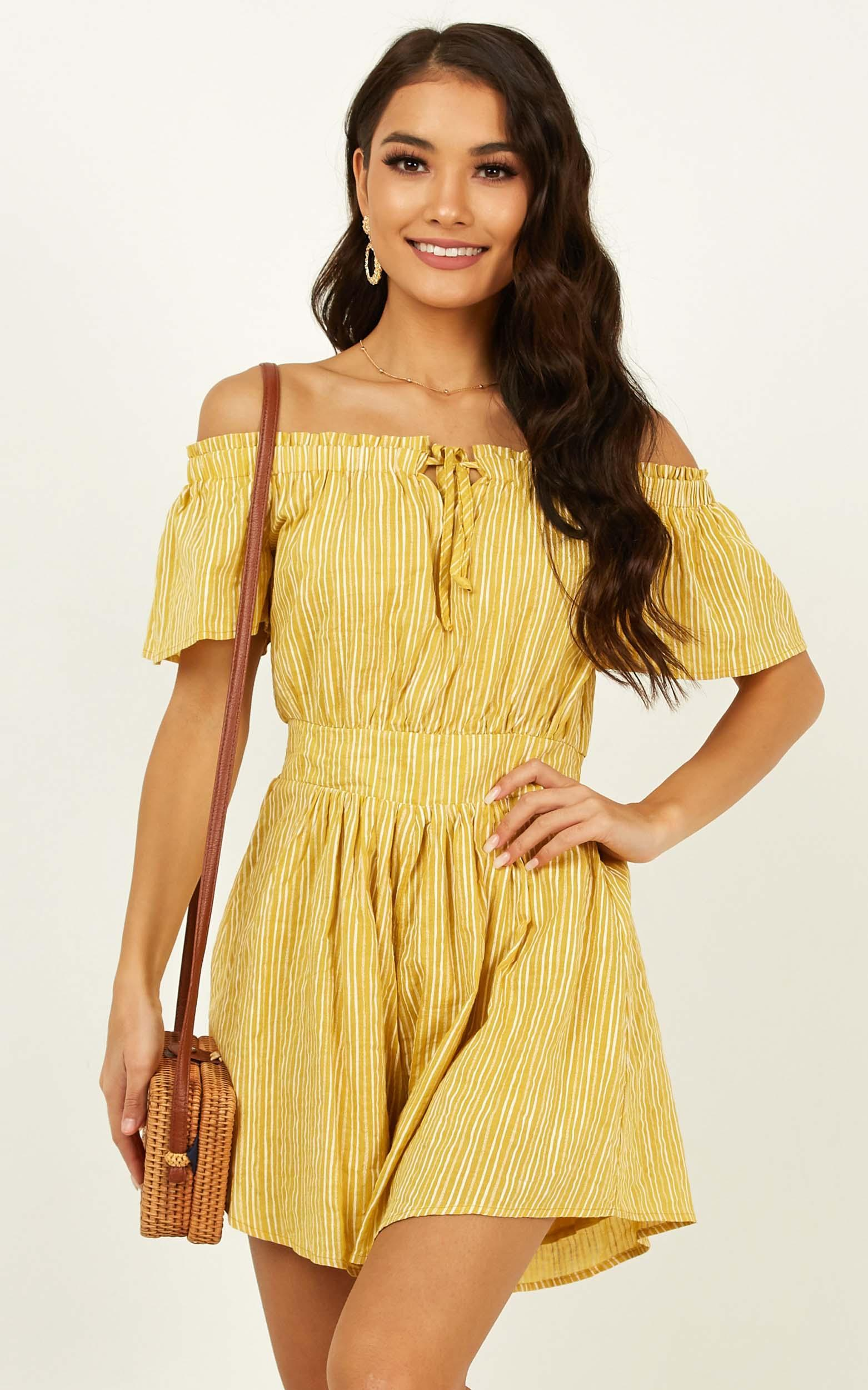 Through To You Playsuit in yellow stripe - 20 (XXXXL), Yellow, hi-res image number null