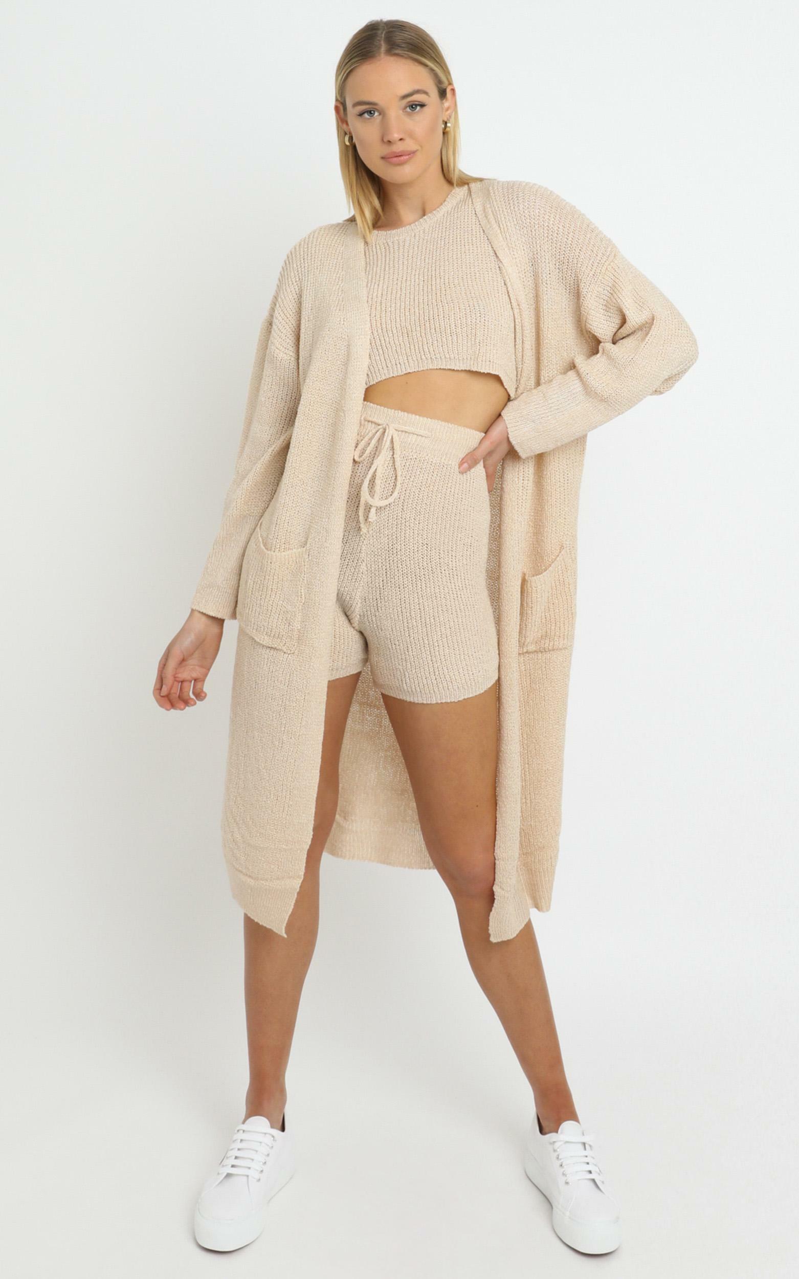 Saffron Knit Three Piece Set Beige - L/XL, Cream, hi-res image number null