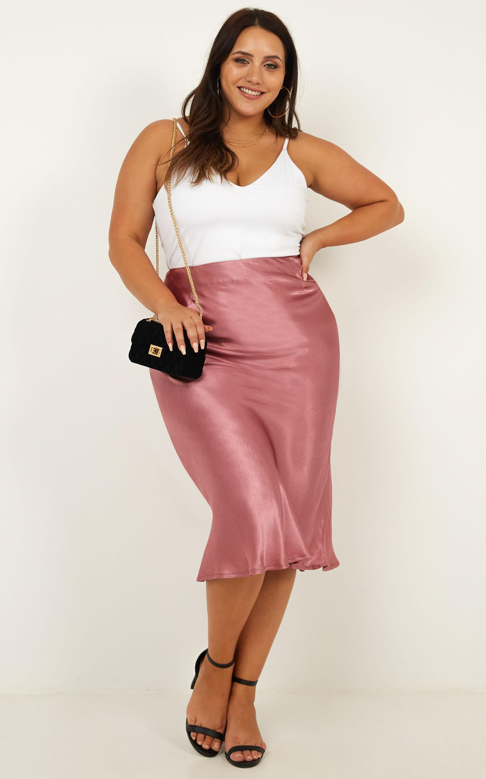 Creating Art skirt in dusty rose satin - 6 (XS), Pink, hi-res image number null