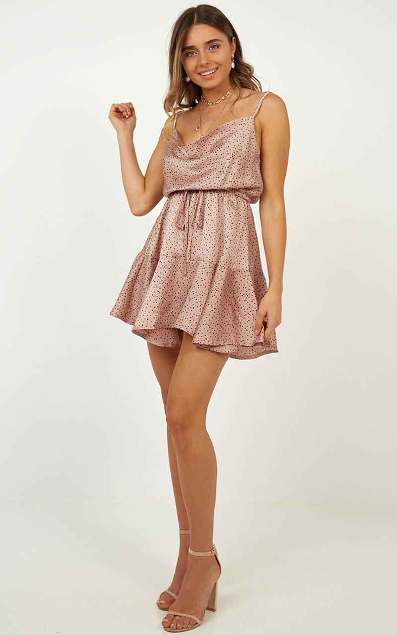 Lay Low dress in Beige spot satin - 12 (L), Beige, hi-res image number null