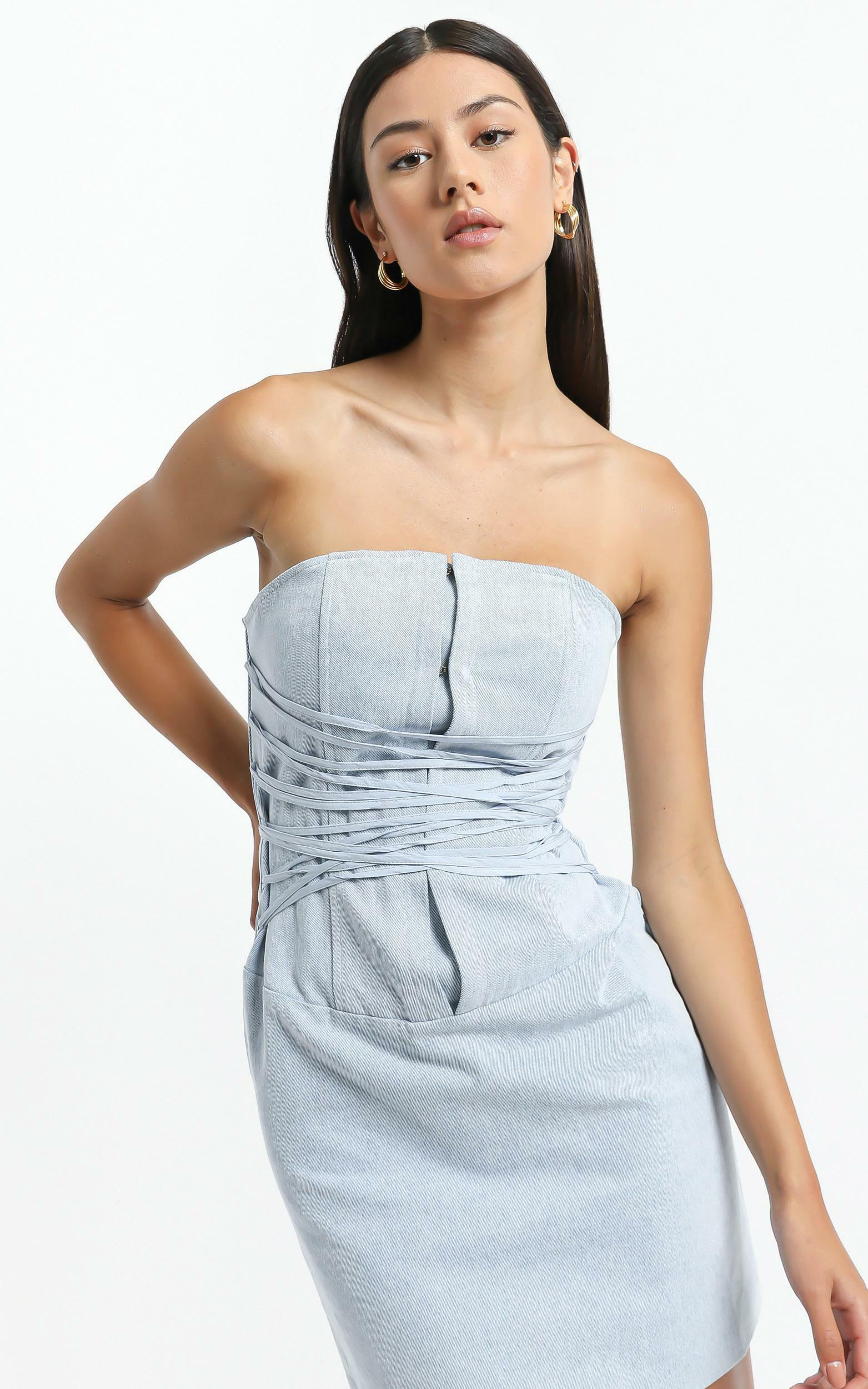 Lioness - Untie Me Mini Dress in Light Blue - XS, BLU15, hi-res image number null