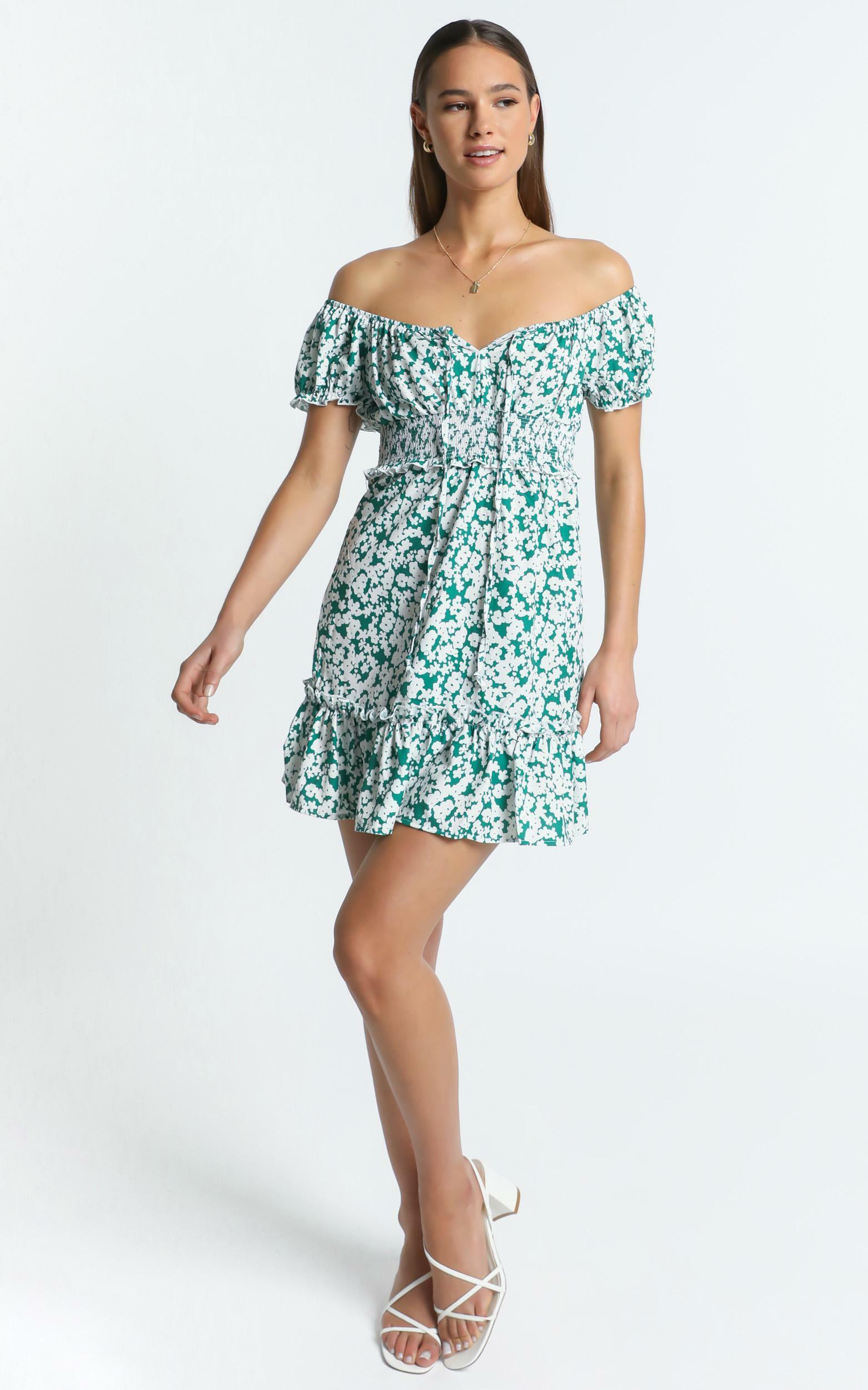 Destiny Dress in Green Floral - 8 (S), Green, hi-res image number null