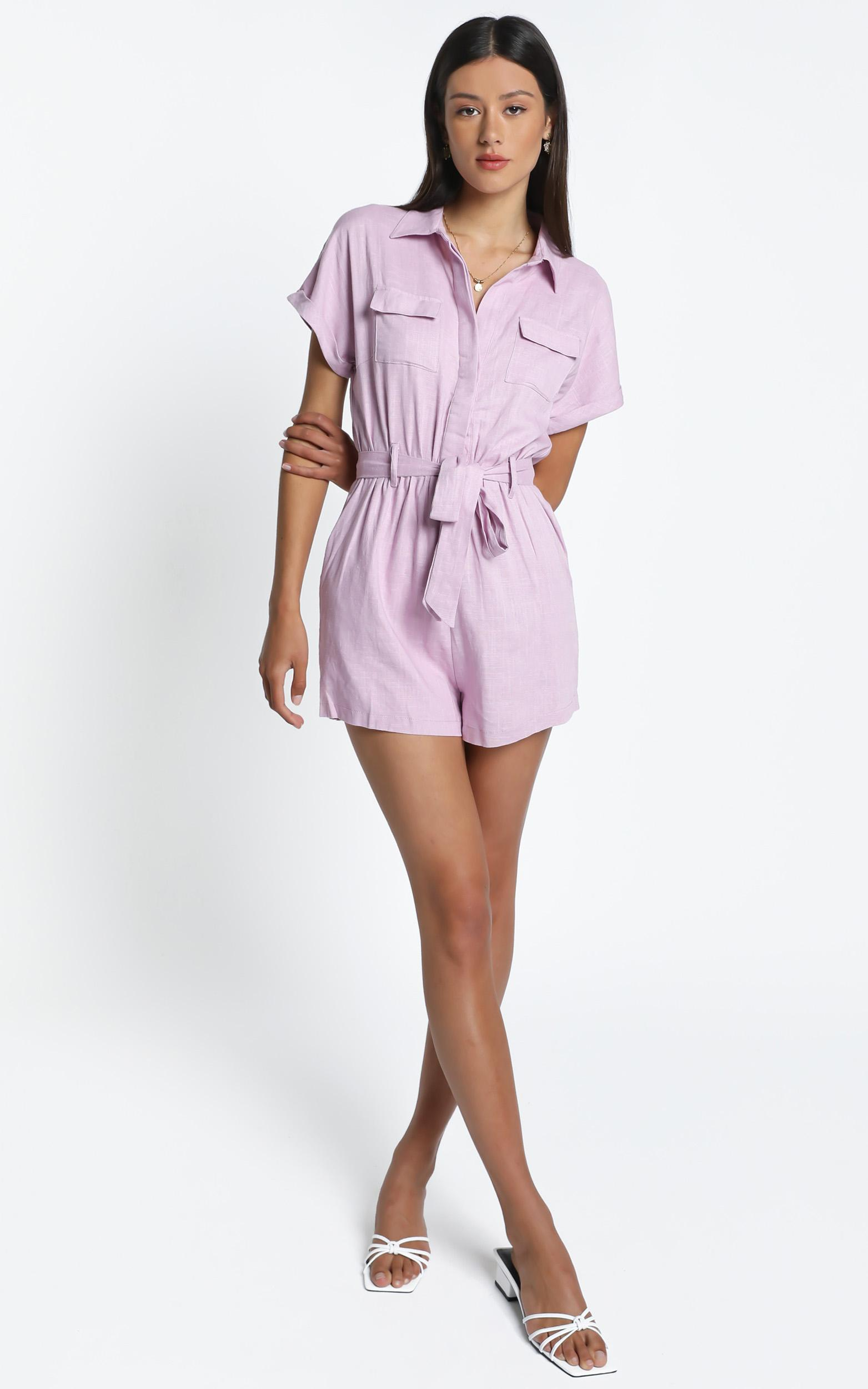 Zarina Belted Playsuit in  Lilac - 12 (L), Purple, hi-res image number null