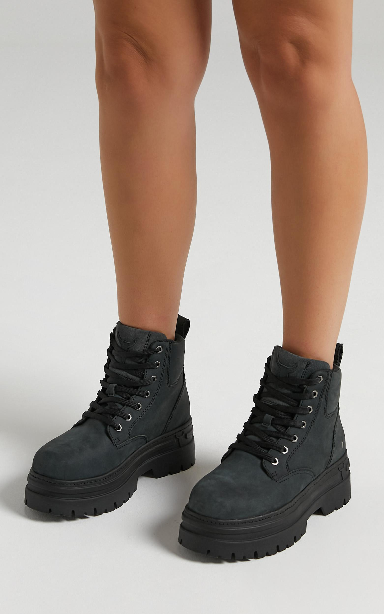 Windsor Smith - Attitude Boots in Charcoal Nubuck - 6, Black, hi-res image number null