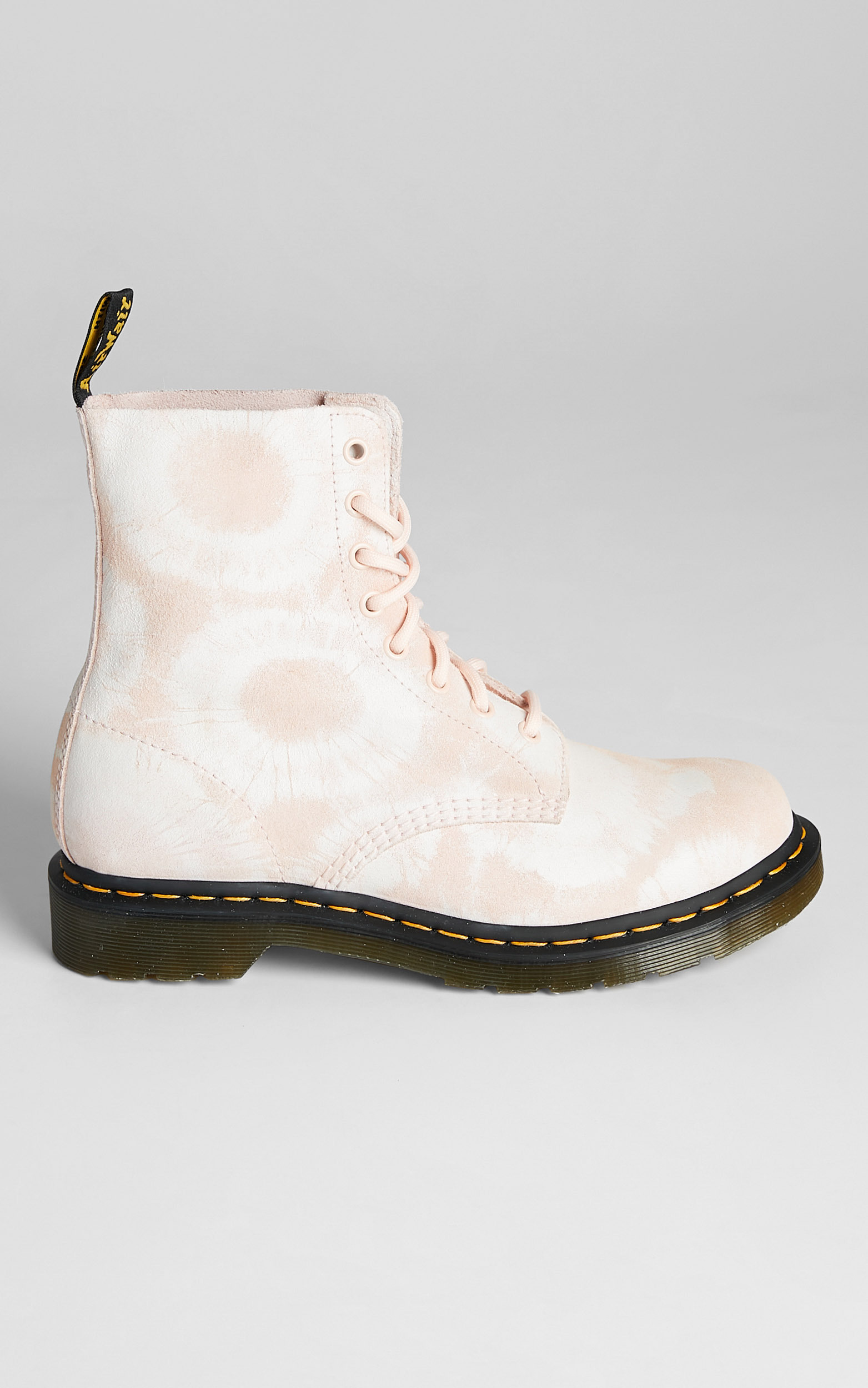 Dr. Martens - 1460 Pascal Tie Dye Boots in Shell Pink White Tie Dye Printed Suede - 05, PNK1, hi-res image number null