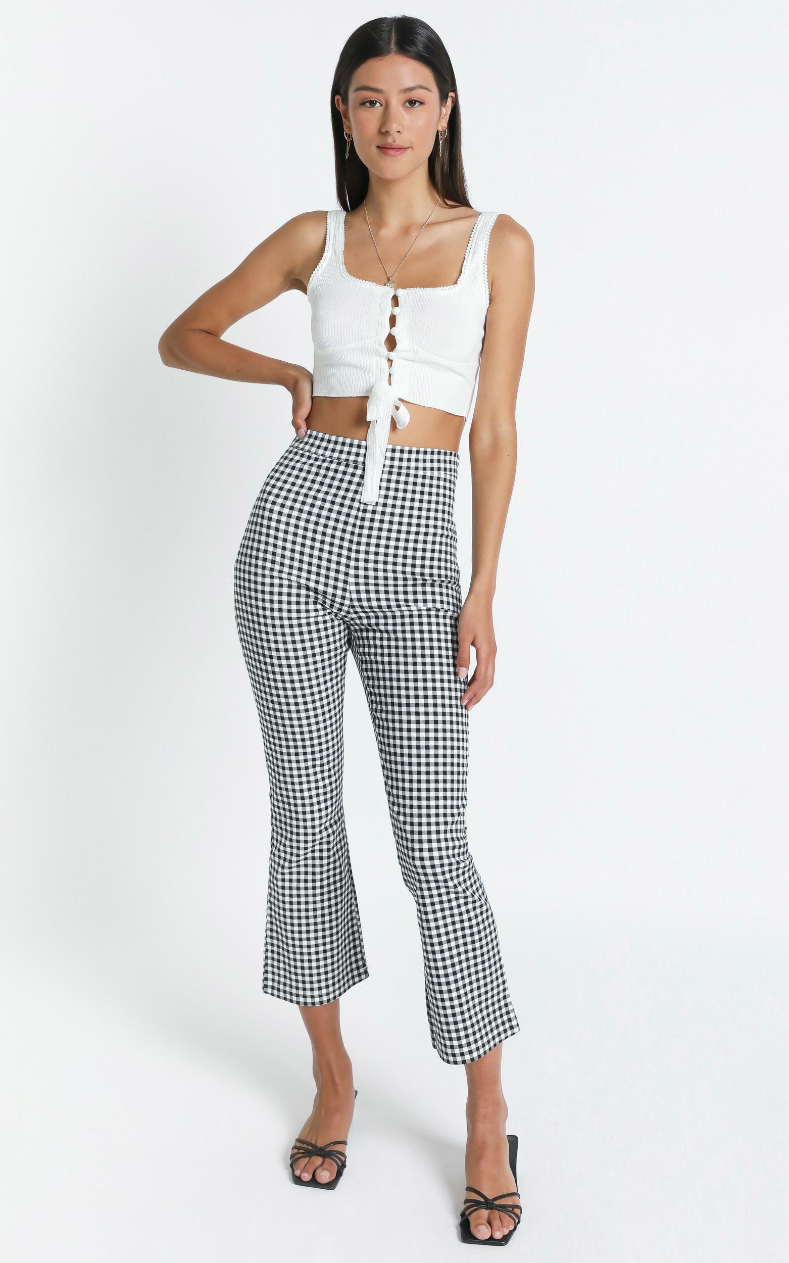 Clarisa Pants in Black Check - 8 (S), Black, hi-res image number null