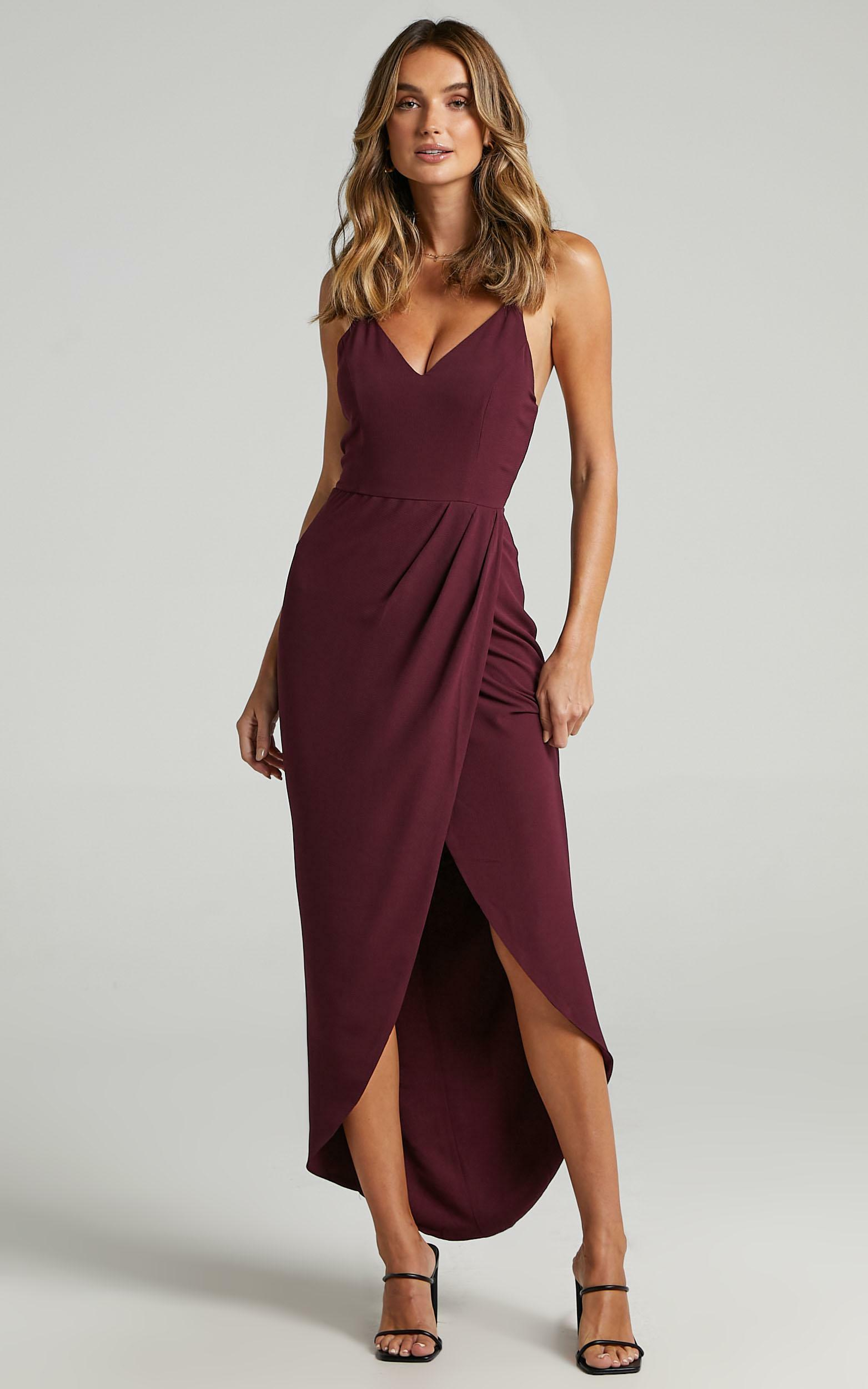 Lucky Day Maxi Dress in Wine - 04, WNE9, hi-res image number null