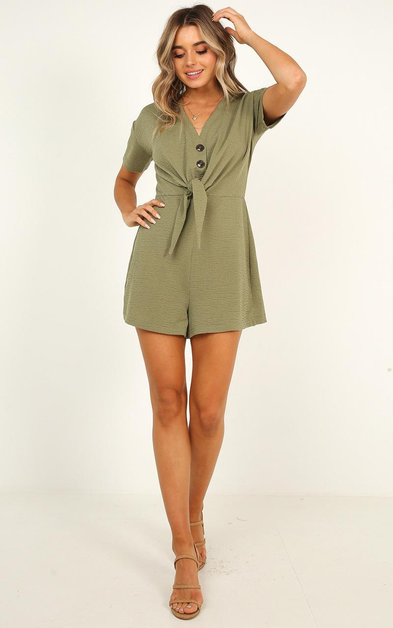 Every Little Step playsuit in khaki - 12 (L), Khaki, hi-res image number null