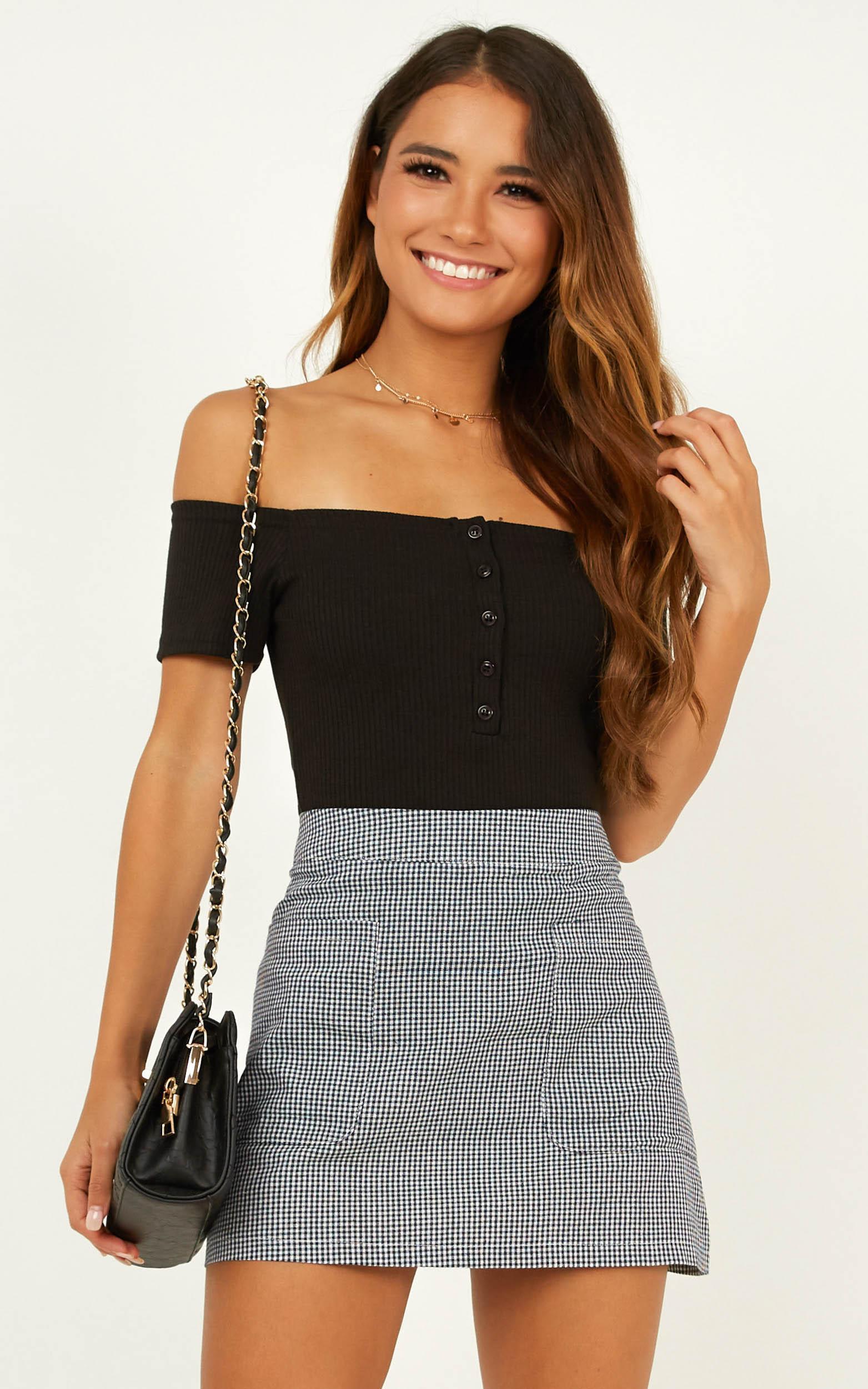 Lean On Me Skirt In Black Gingham - 4 (XXS), Black, hi-res image number null