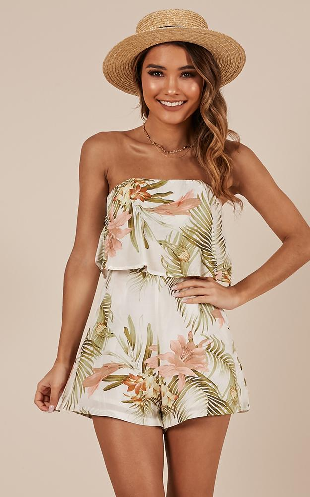 Cool Breeze playsuit in peach floral - 14 (XL), Multi, hi-res image number null