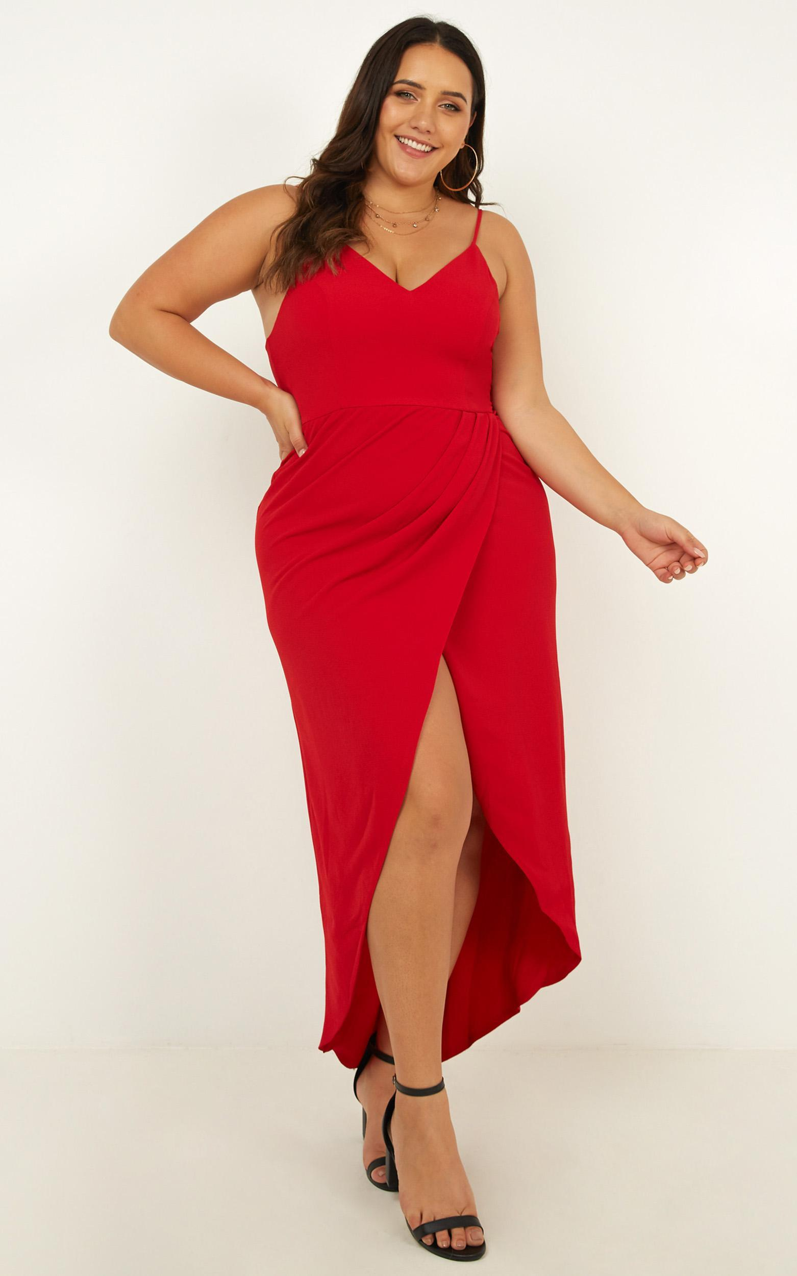 Lucky Day Drape Maxi Dress in Red - 04, RED8, hi-res image number null